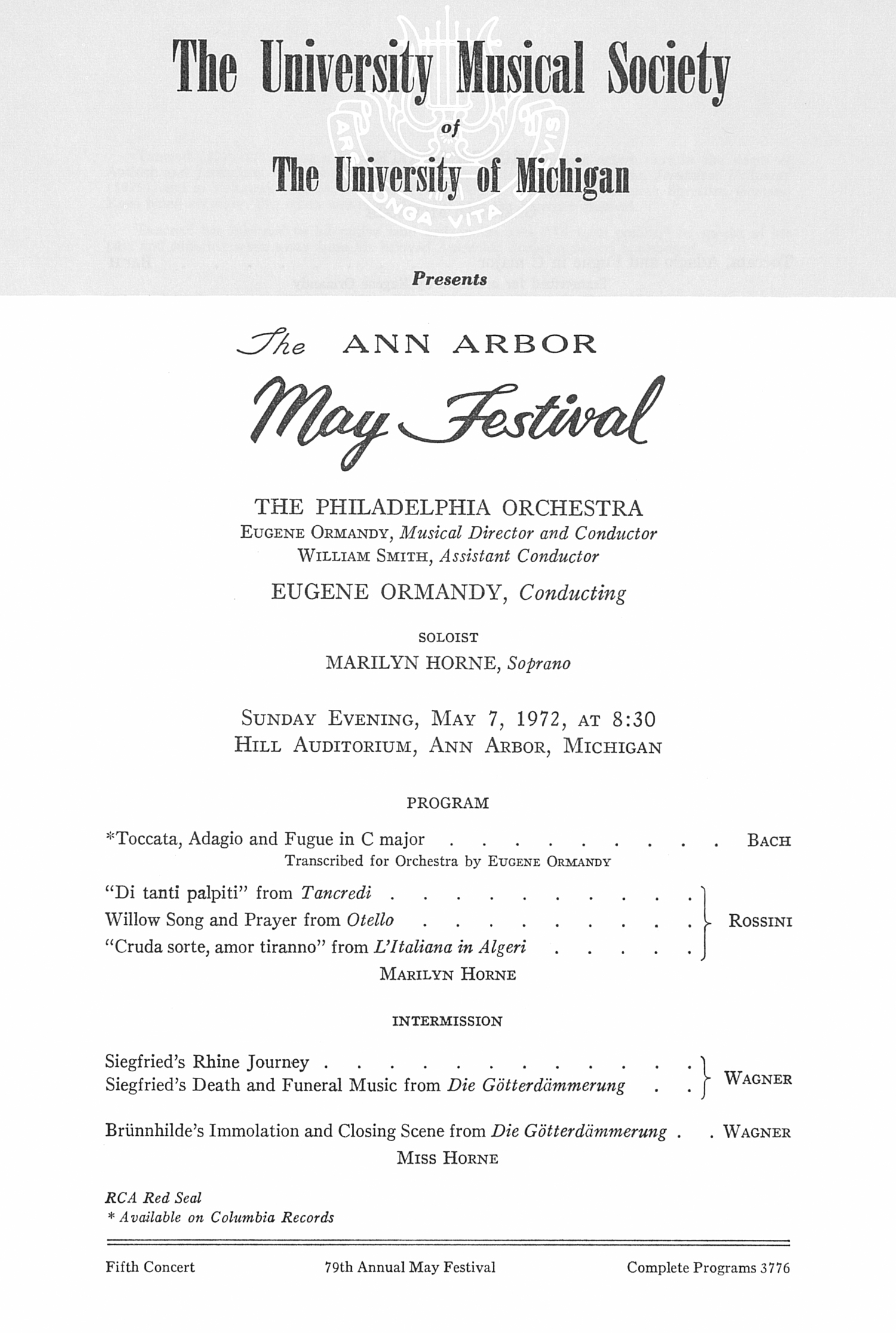 UMS Concert Program, May 7, 1972: The Ann Arbor May Festival -- The Philadelphia Orchestra image