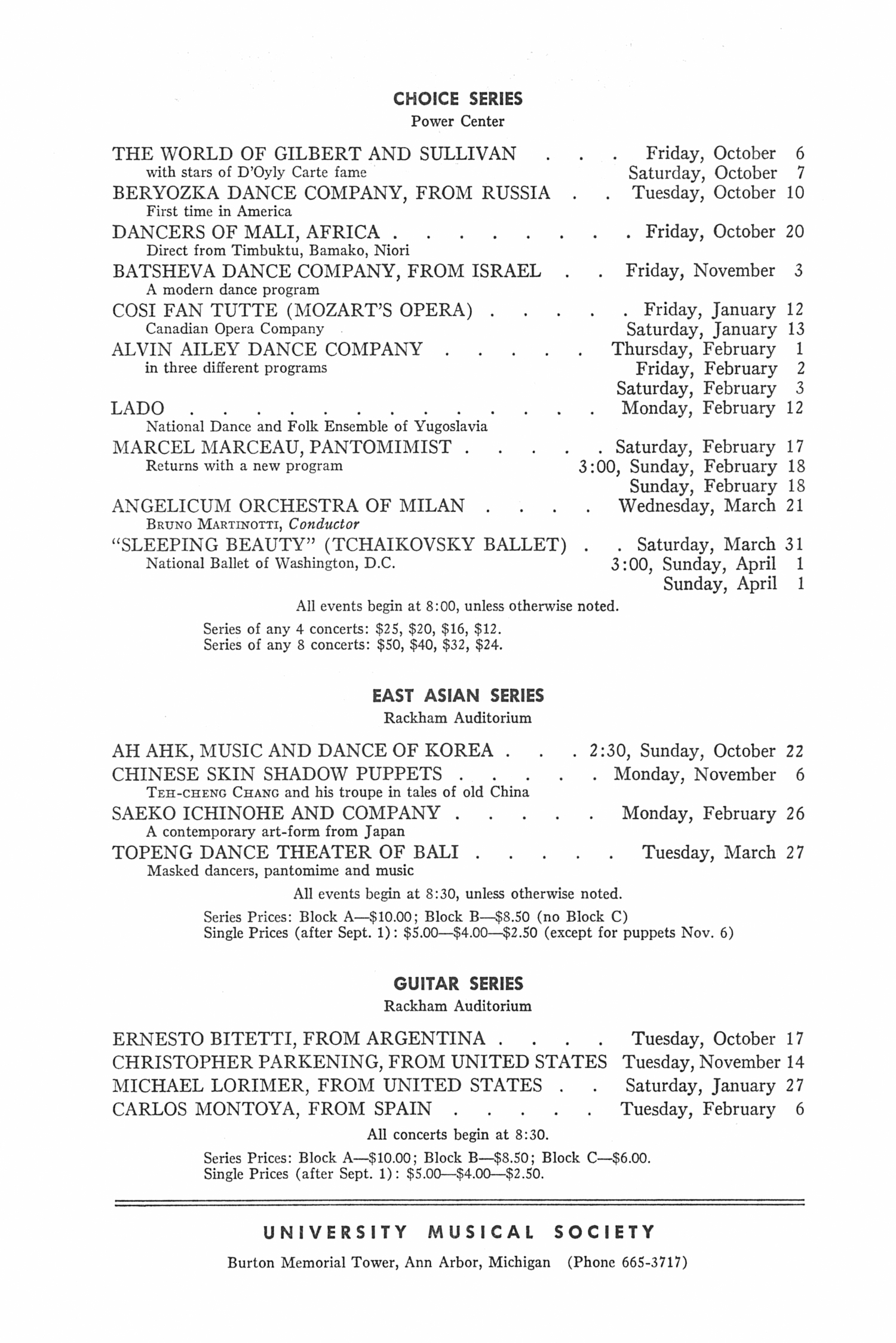 UMS Concert Program, : Choral Union Series --  image