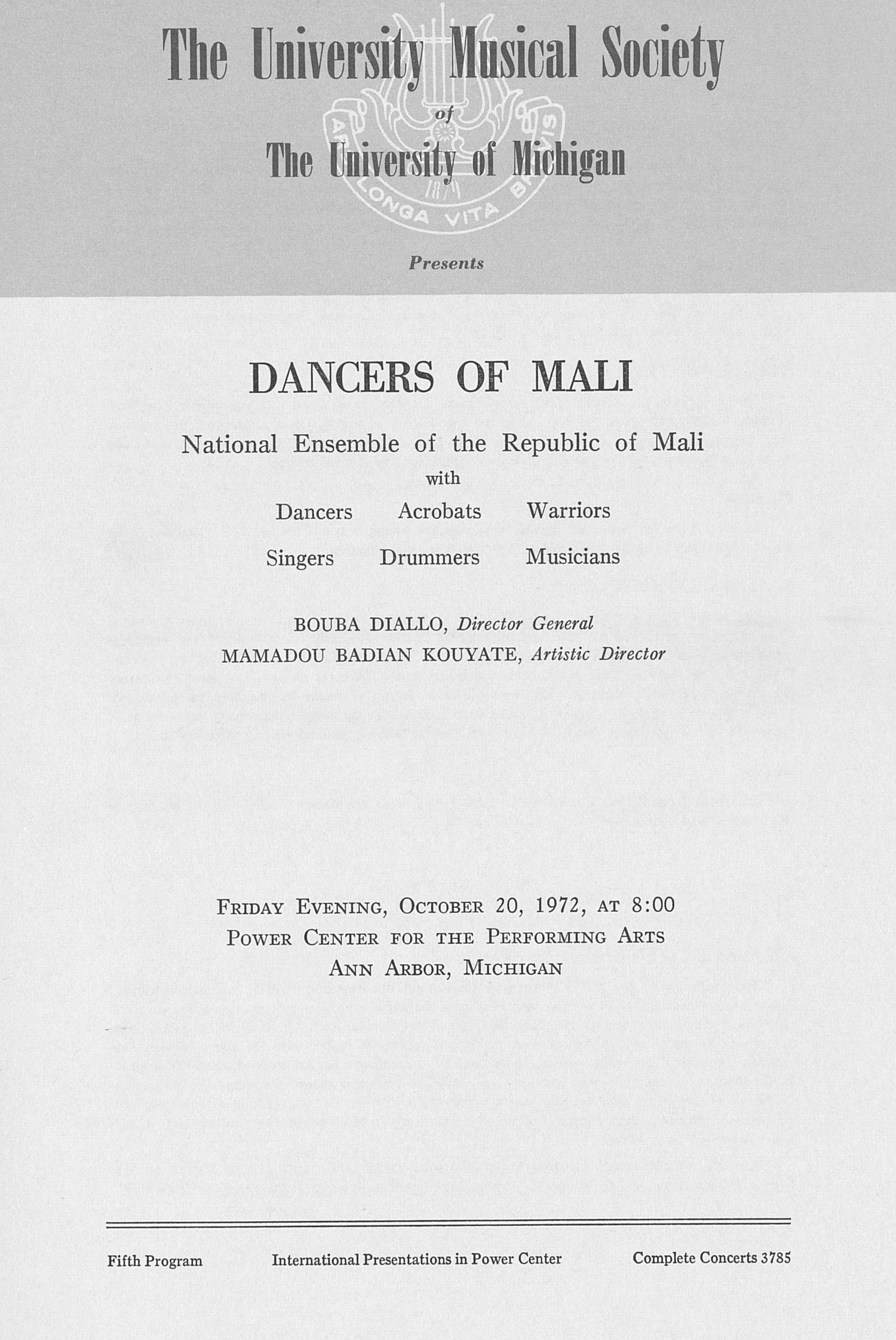 UMS Concert Program, October 20, 1972: Dancers Of Mali --  image