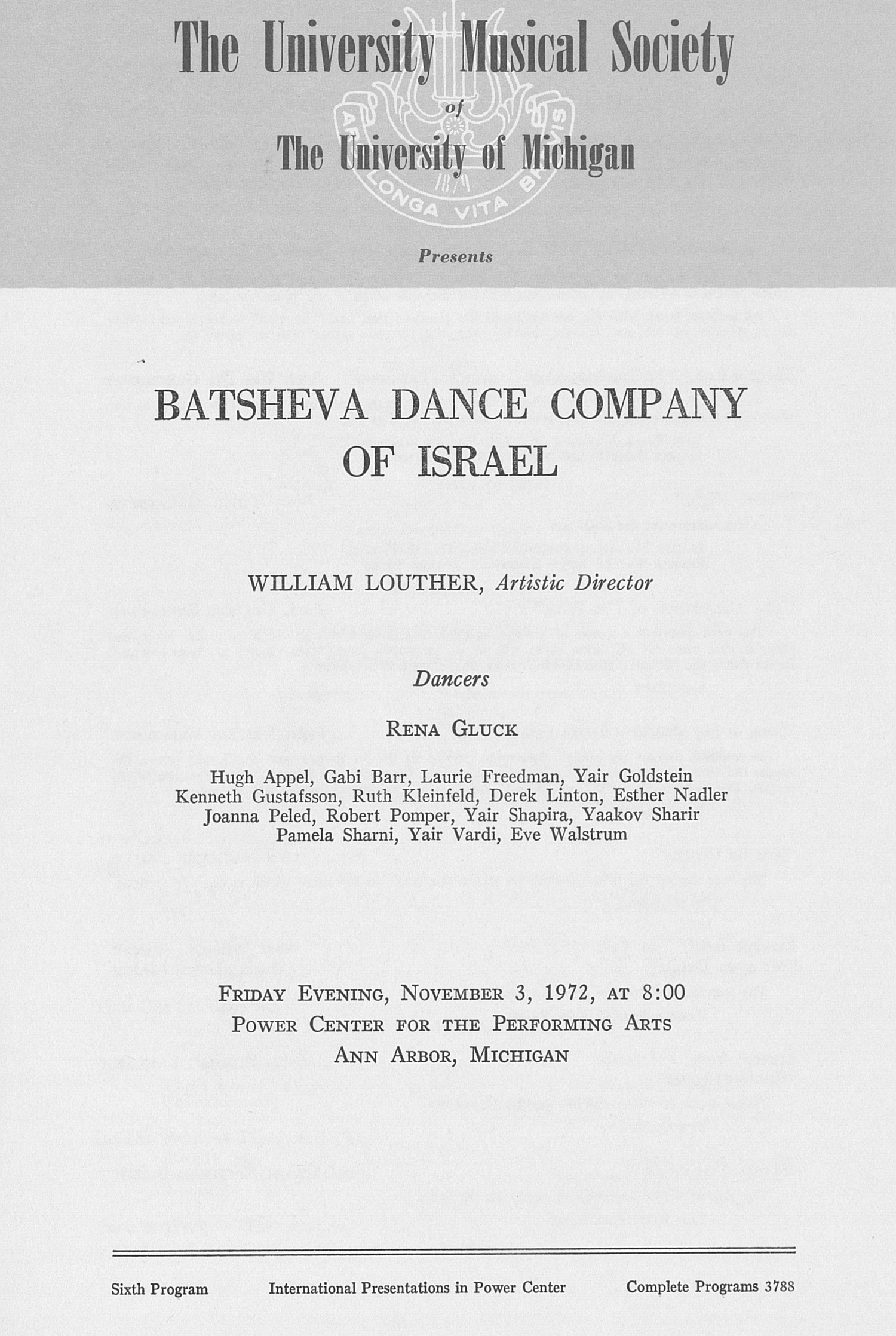 UMS Concert Program, November 3, 1972: Batsheva Dance Company Of Israel -- William Louther image