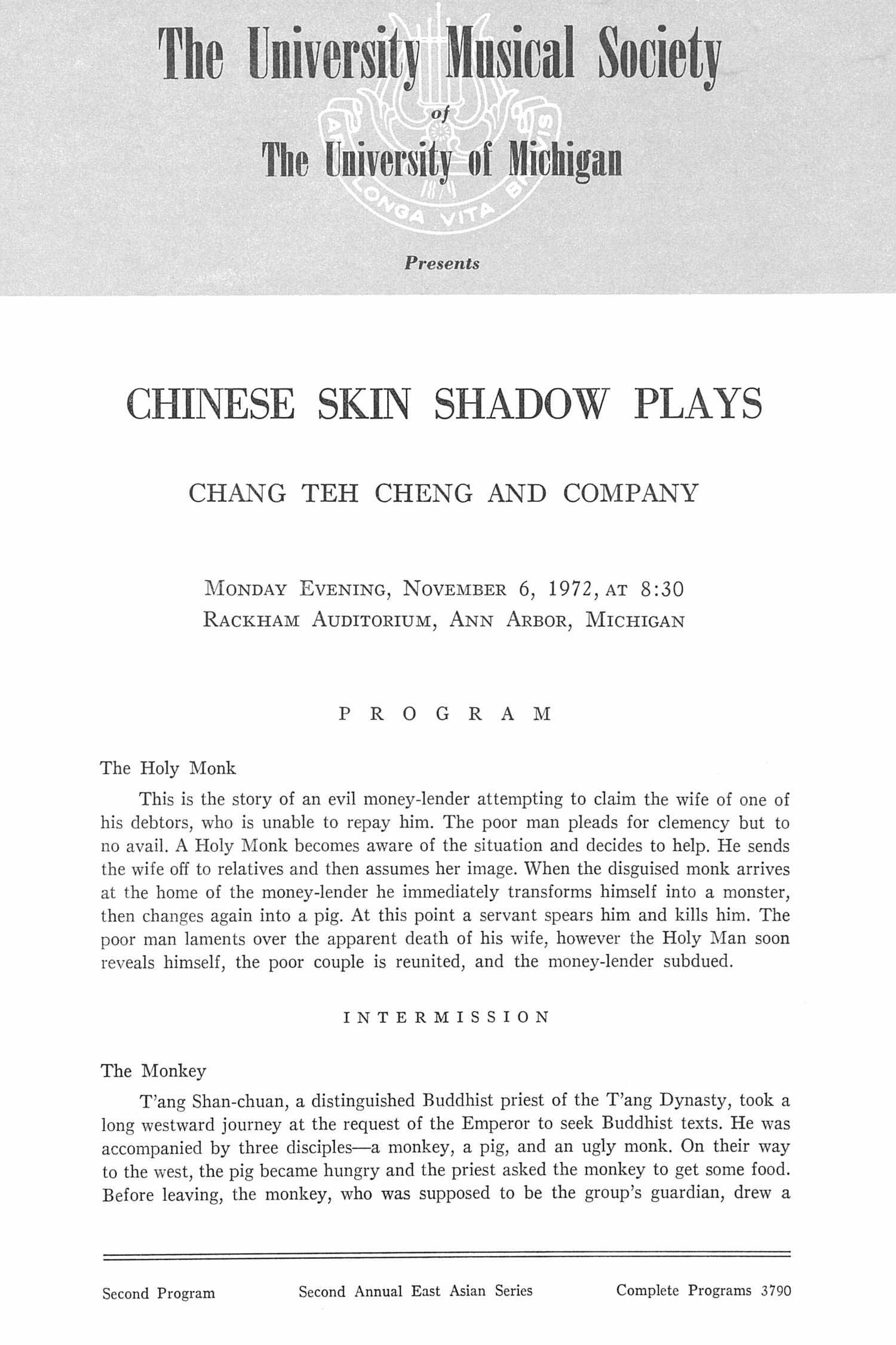 UMS Concert Program, November 6, 1972: Chinese Skin Shadow Plays -- Chang Teh Cheng And Company image