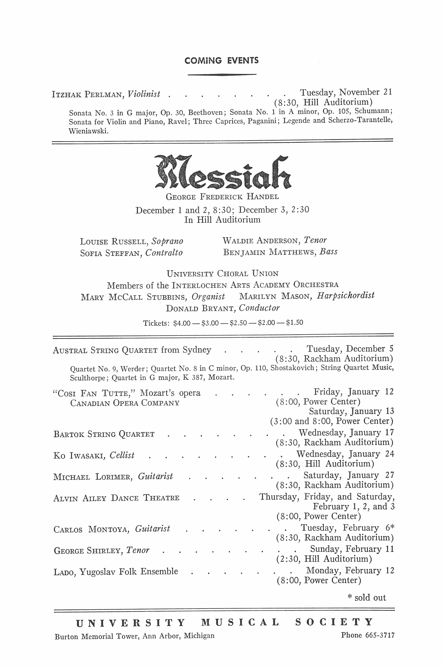 UMS Concert Program, November 18, 1972: Paniagua Quartet --  image