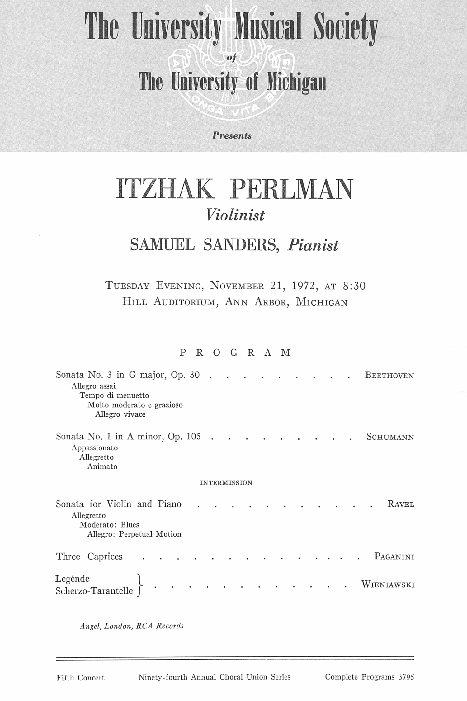 UMS Concert Program, November 21, 1972: Itzhak Perlman --  image