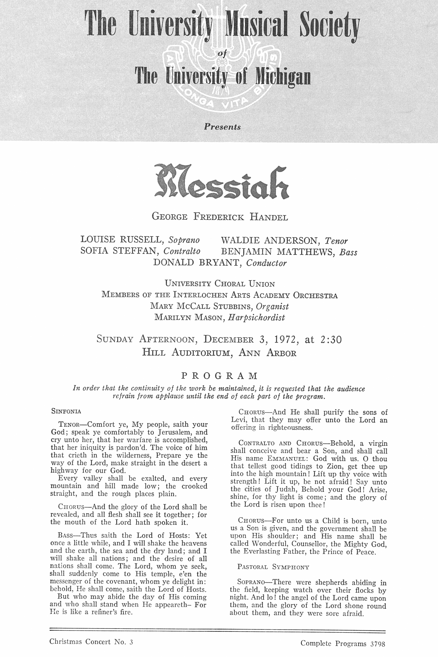 UMS Concert Program, December 3, 1972: Messiah -- George Frederick Handel image