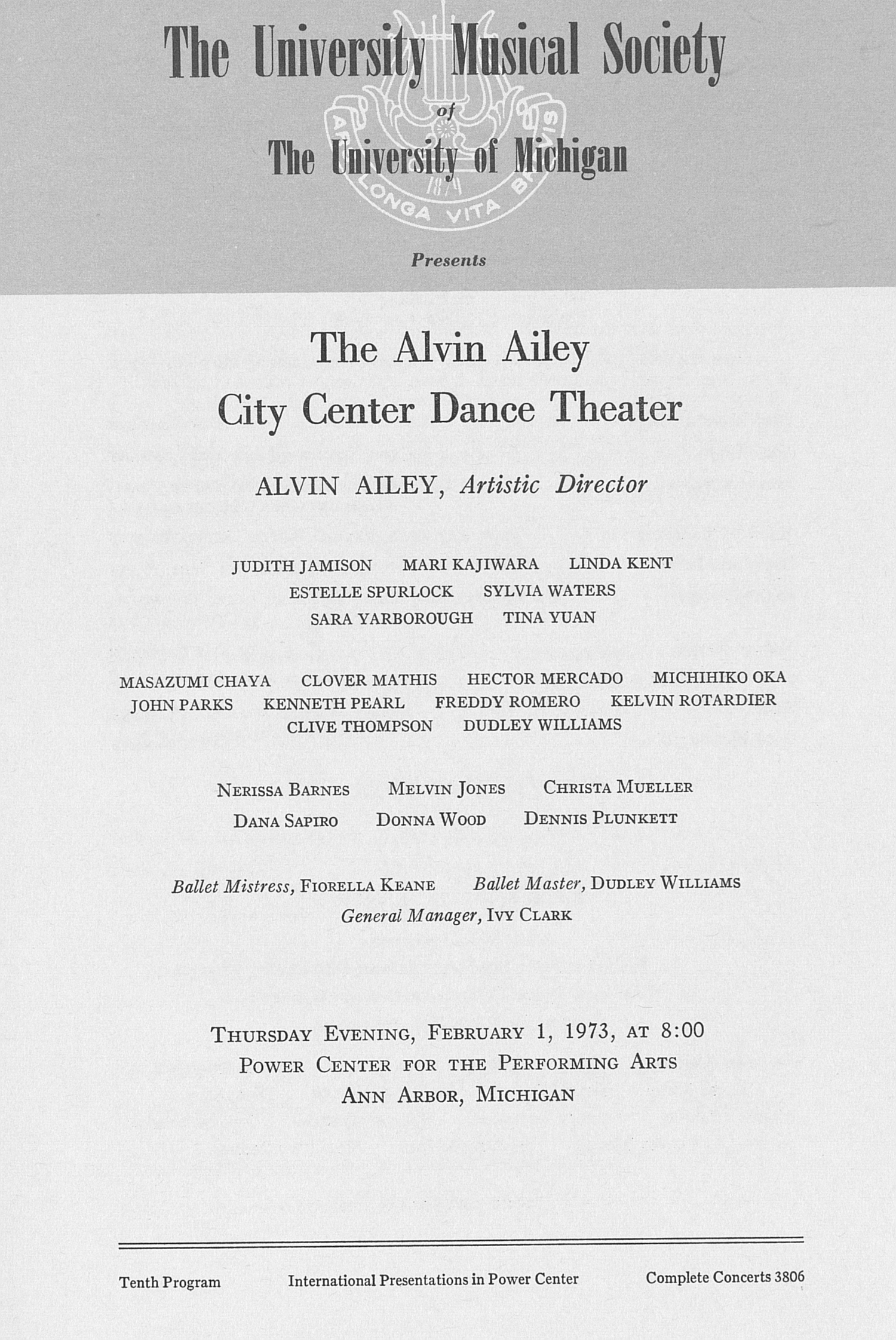 UMS Concert Program, February 1, 1973: The Alvin Ailey City Center Dance Theater -- Alvin Ailey image