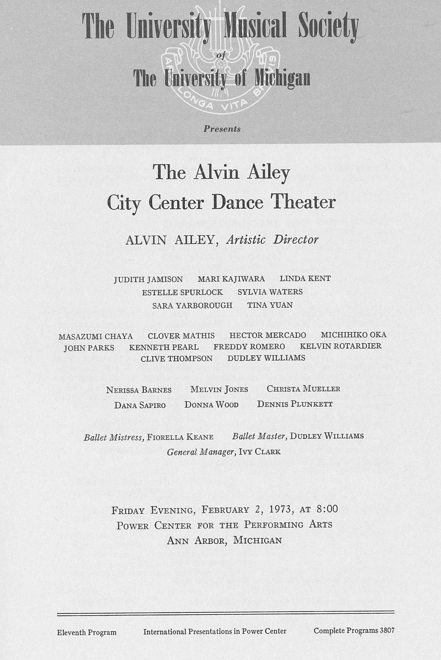 UMS Concert Program, February 2, 1973: The Alvin Ailey City Center Dance Theater -- Alvin Ailey image