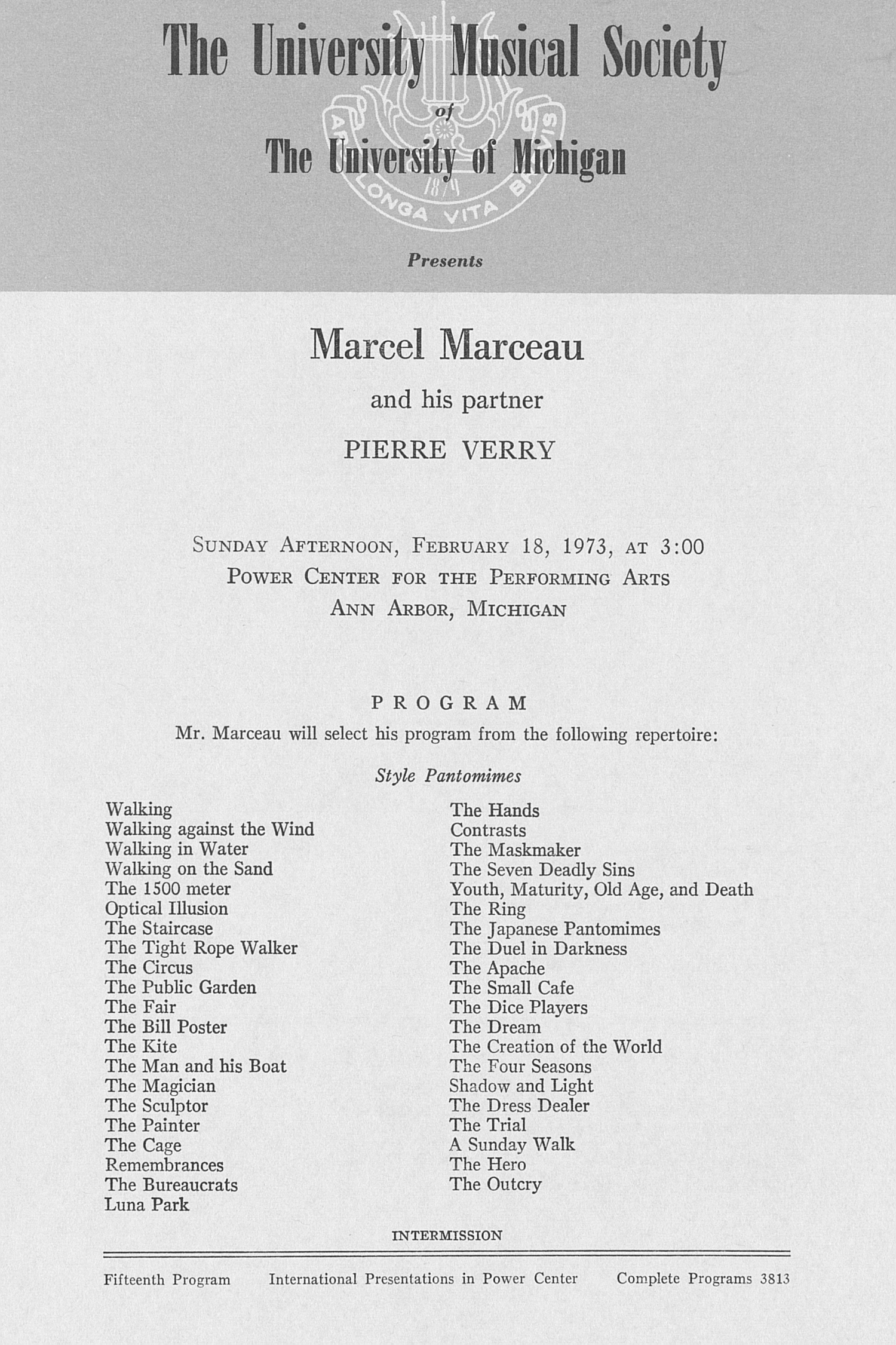 UMS Concert Program, February 18, 1973: Marcel Marceau And His Partner Pierre Verry --  image