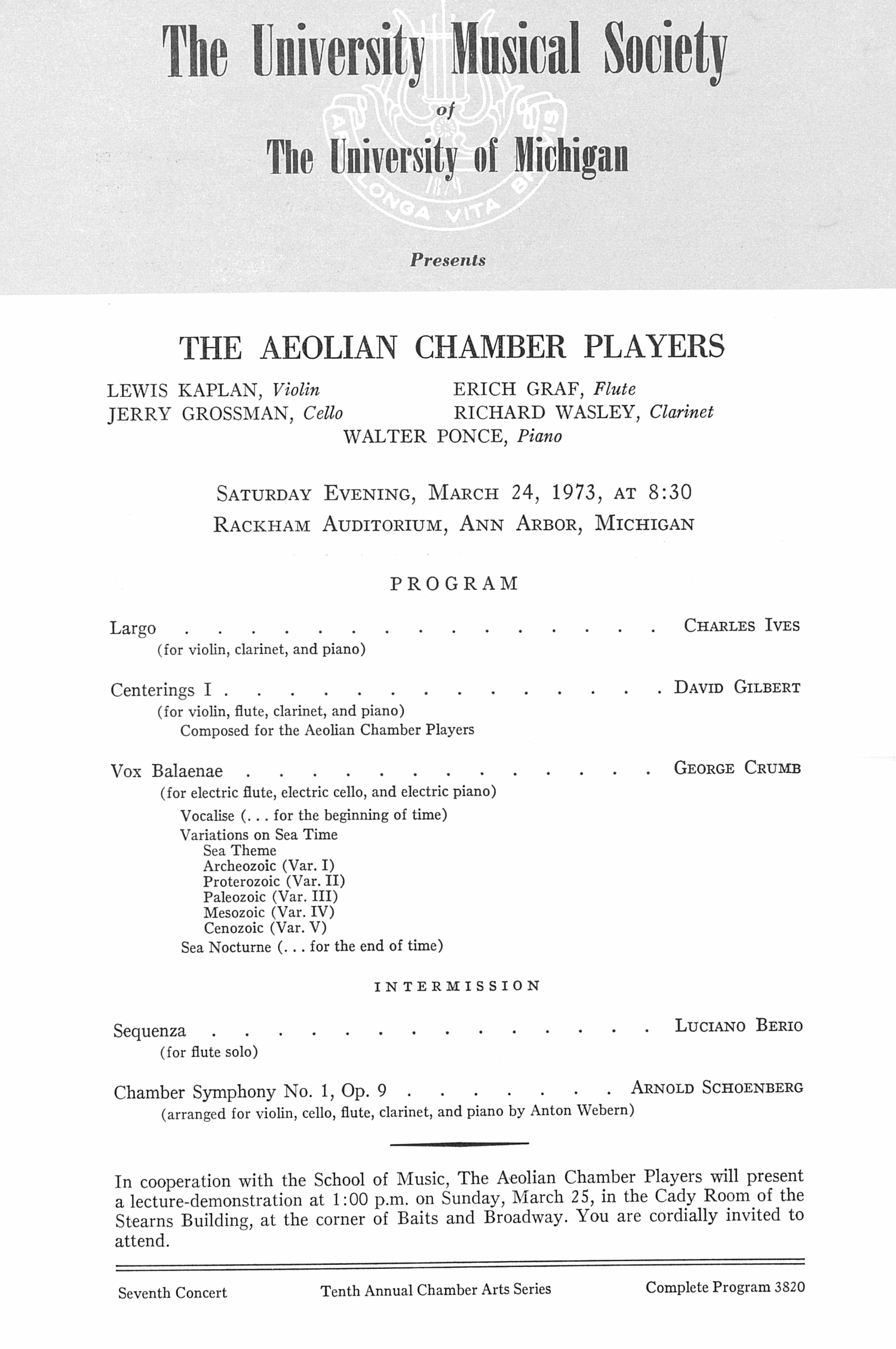 UMS Concert Program, March 24, 1973: The Aeolian Chamber Players --  image