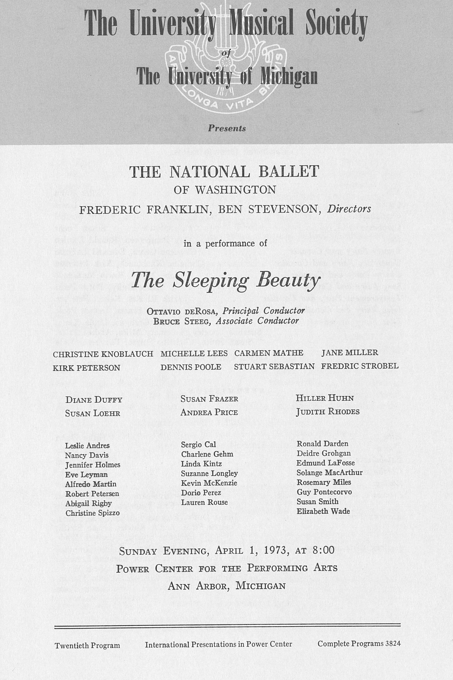 UMS Concert Program, April 1, 1973: The Sleeping Beauty --  image