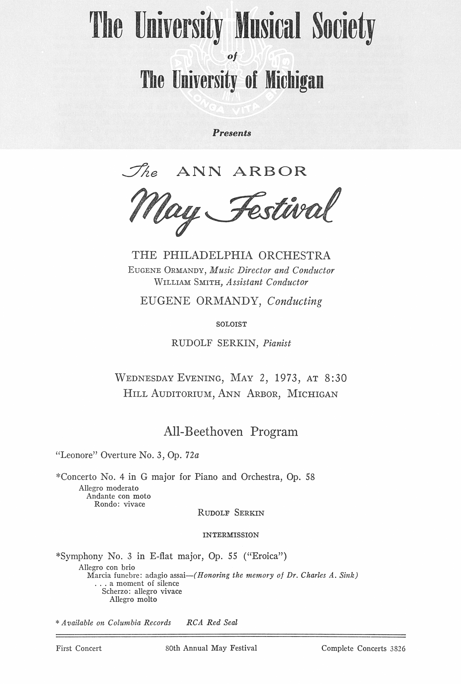 UMS Concert Program, May 2, 1973: The Ann Arbor May Festival -- Eugene Ormandy image