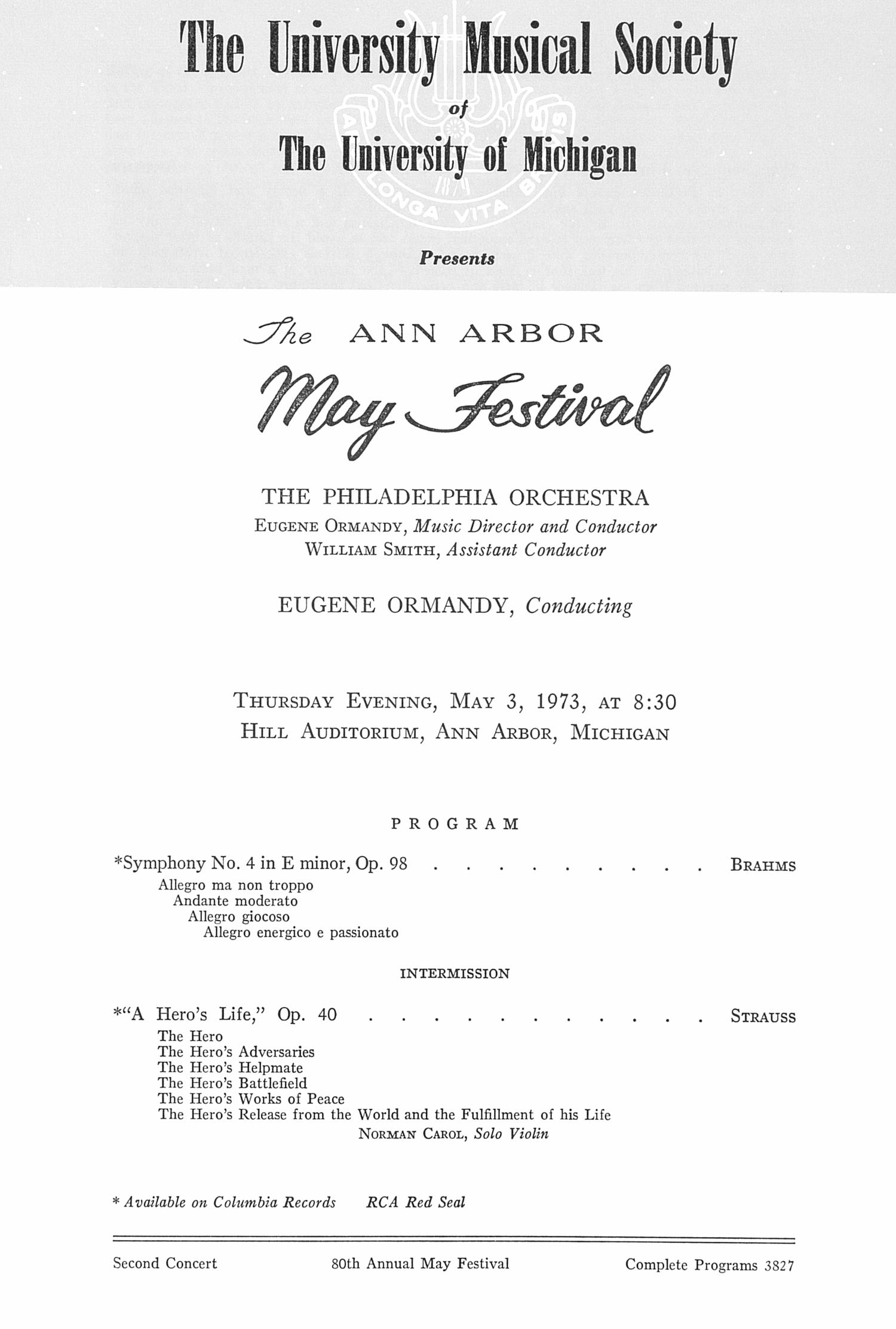 UMS Concert Program, May 3, 1973: The Ann Arbor May Festival -- The Philadelphia Orchestra image