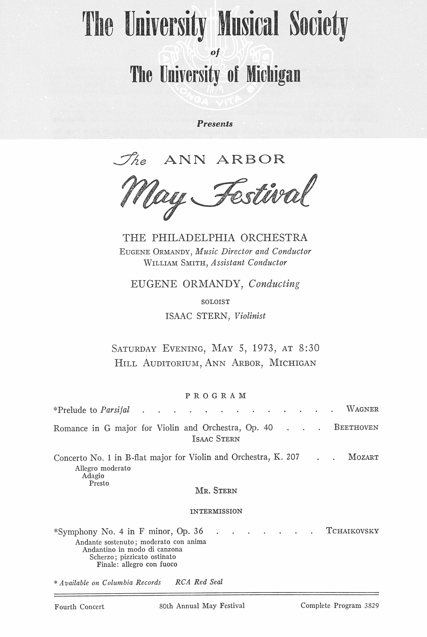 UMS Concert Program, May 5, 1973: The Ann Arbor May Festival -- The Philadelphia Orchestra image