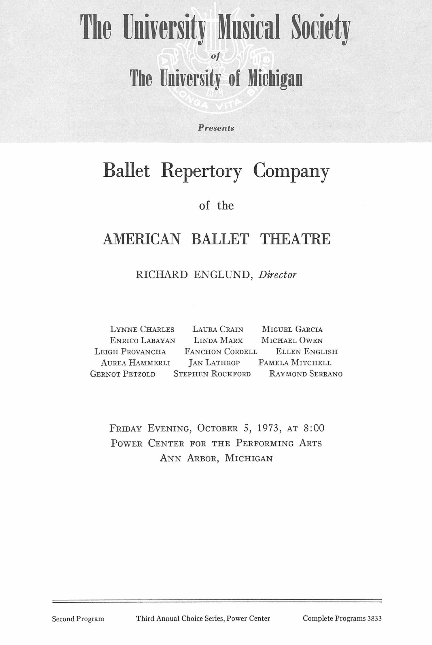 UMS Concert Program, October 5, 1973: Ballet Repertory Company Of The American Ballet Theatre -- Richard Englund image