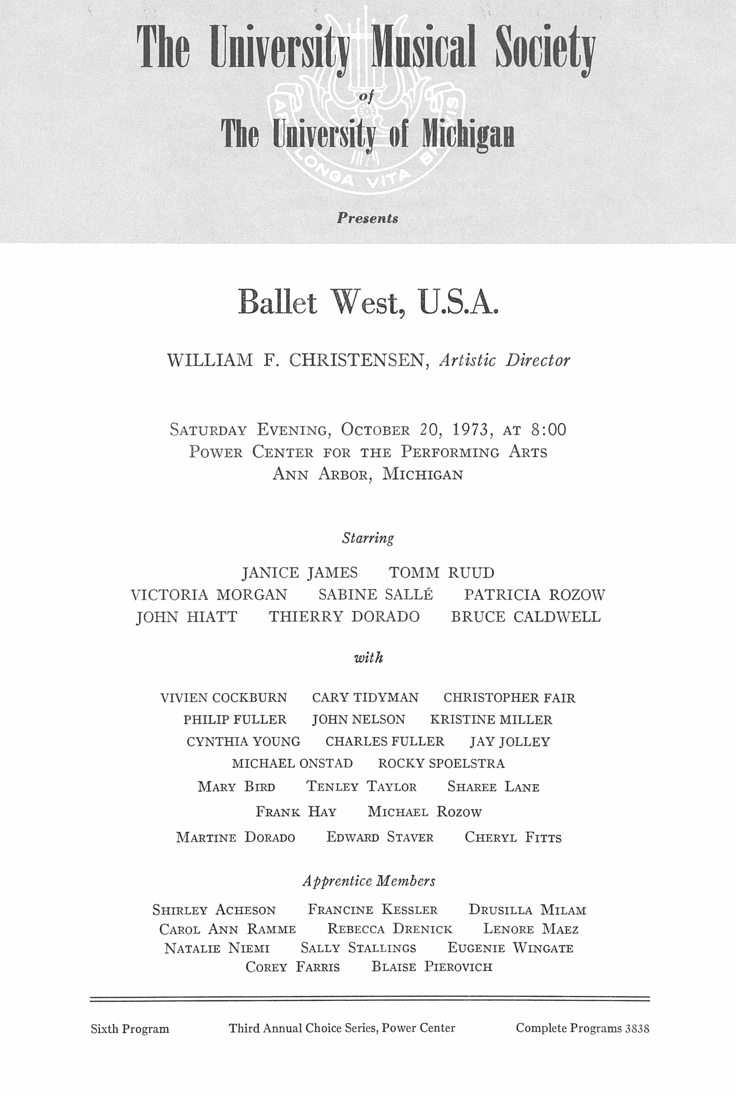 UMS Concert Program, October 20, 1973: Ballet West, U.s.a. -- William F. Christensen image