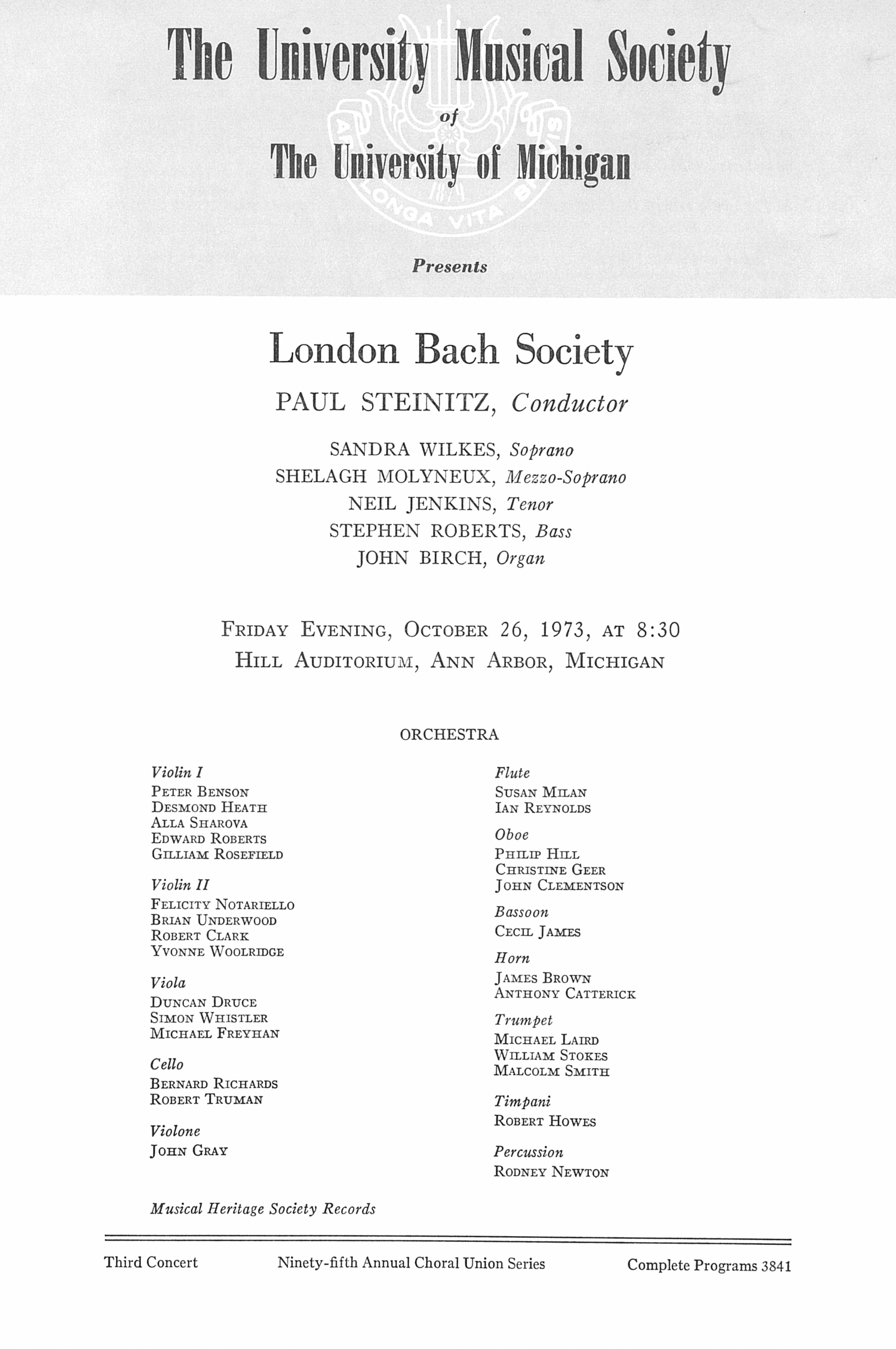 UMS Concert Program, October 26, 1973: London Bach Society -- Paul Steinitz image