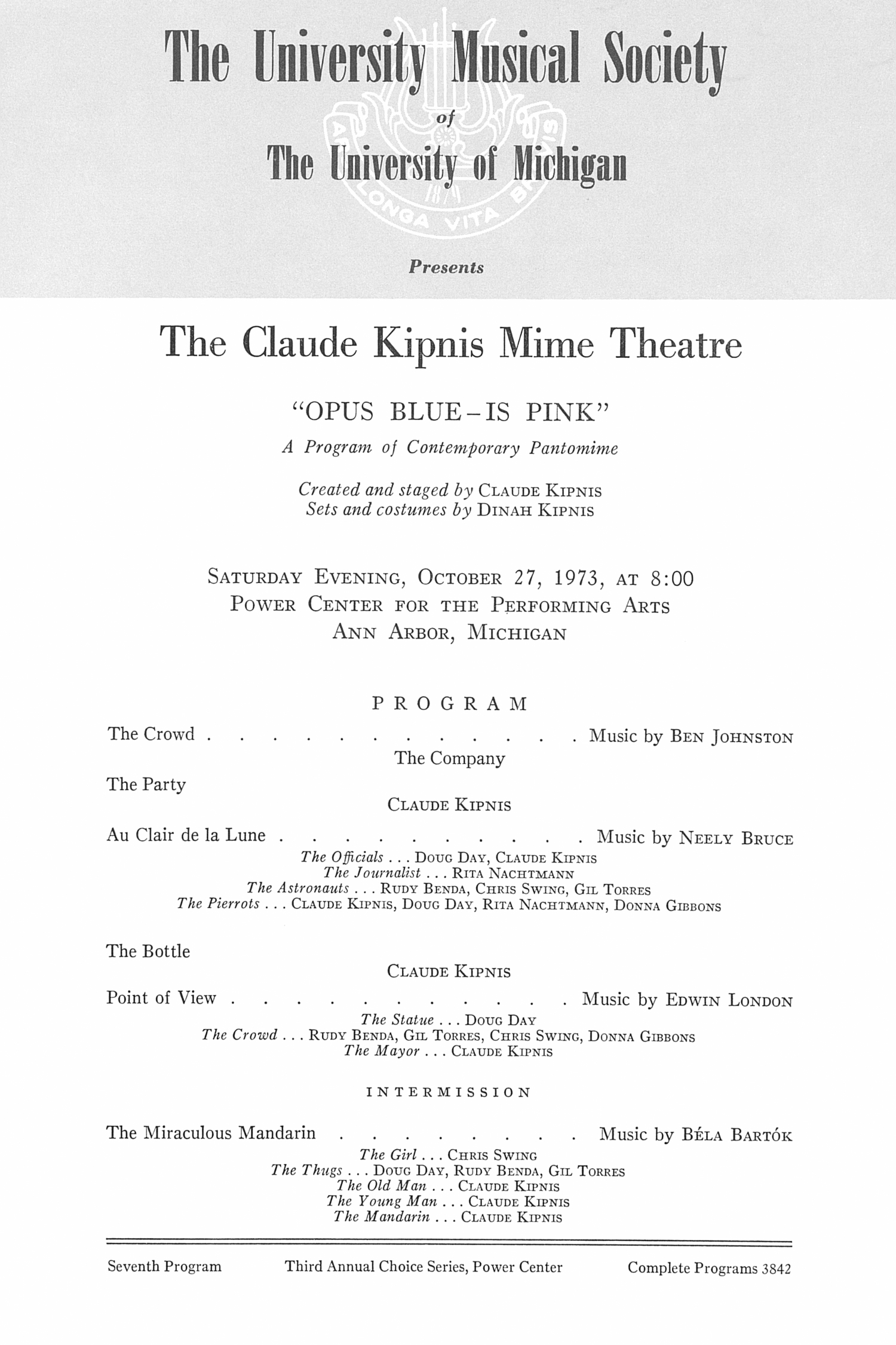 UMS Concert Program, October 27, 1973: The Claude Kipnis Mime Theatre --  image