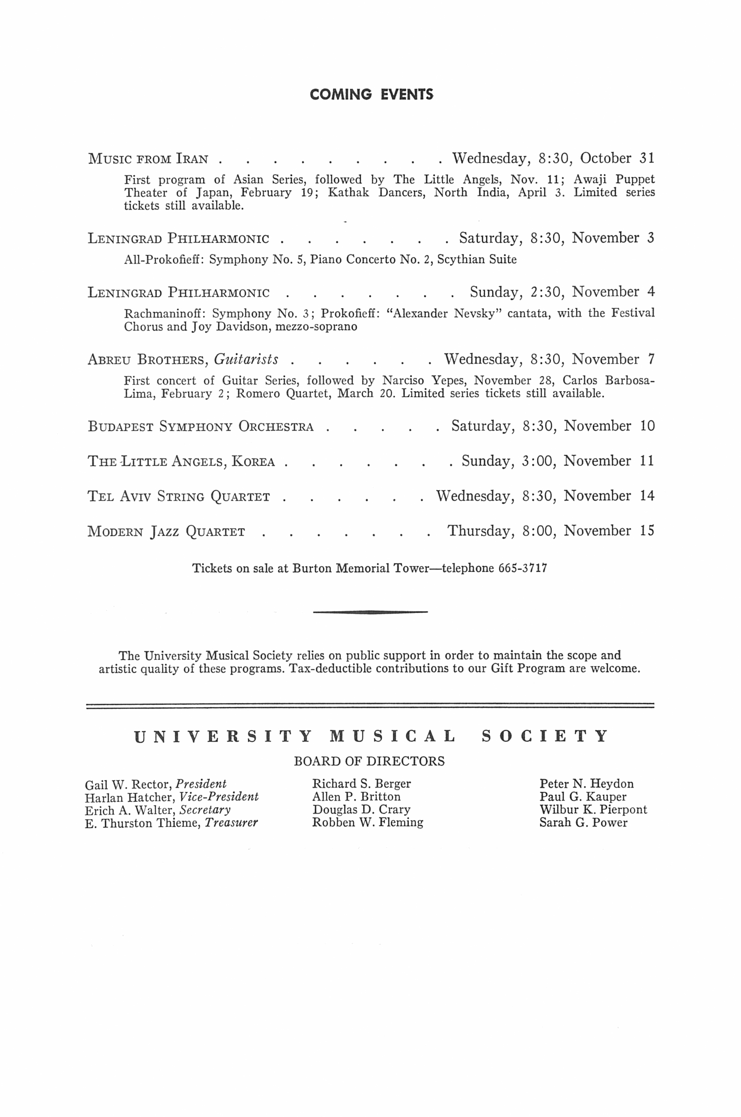 UMS Concert Program, October 28, 1973: Baroque Ensemble, U.s.s.r. --  image