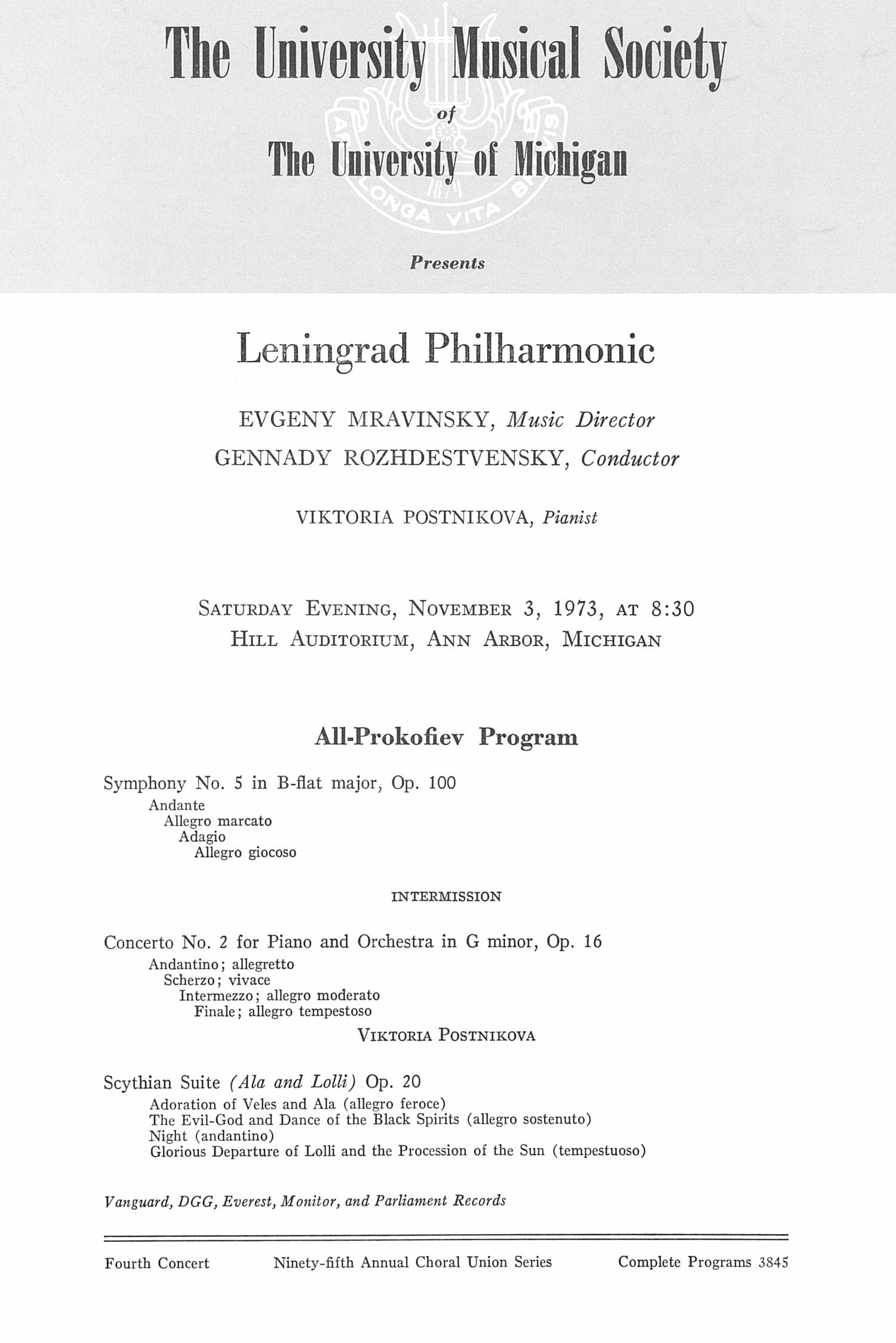 UMS Concert Program, November 4, 1973: Leningrad Philharmonic --  image