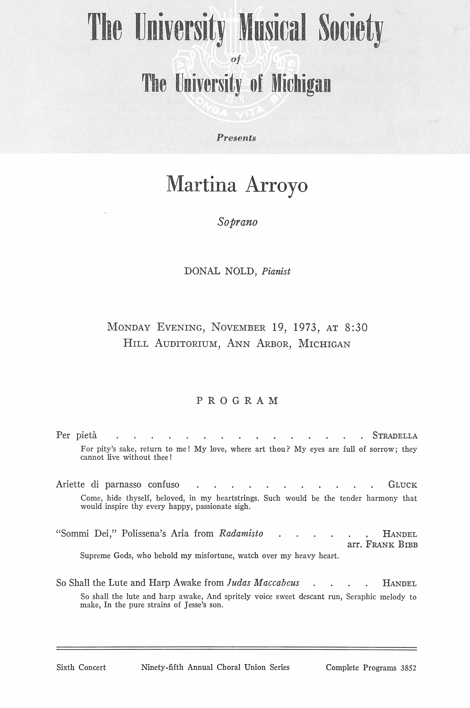 UMS Concert Program, November 19, 1973: Martina Arroyo --  image