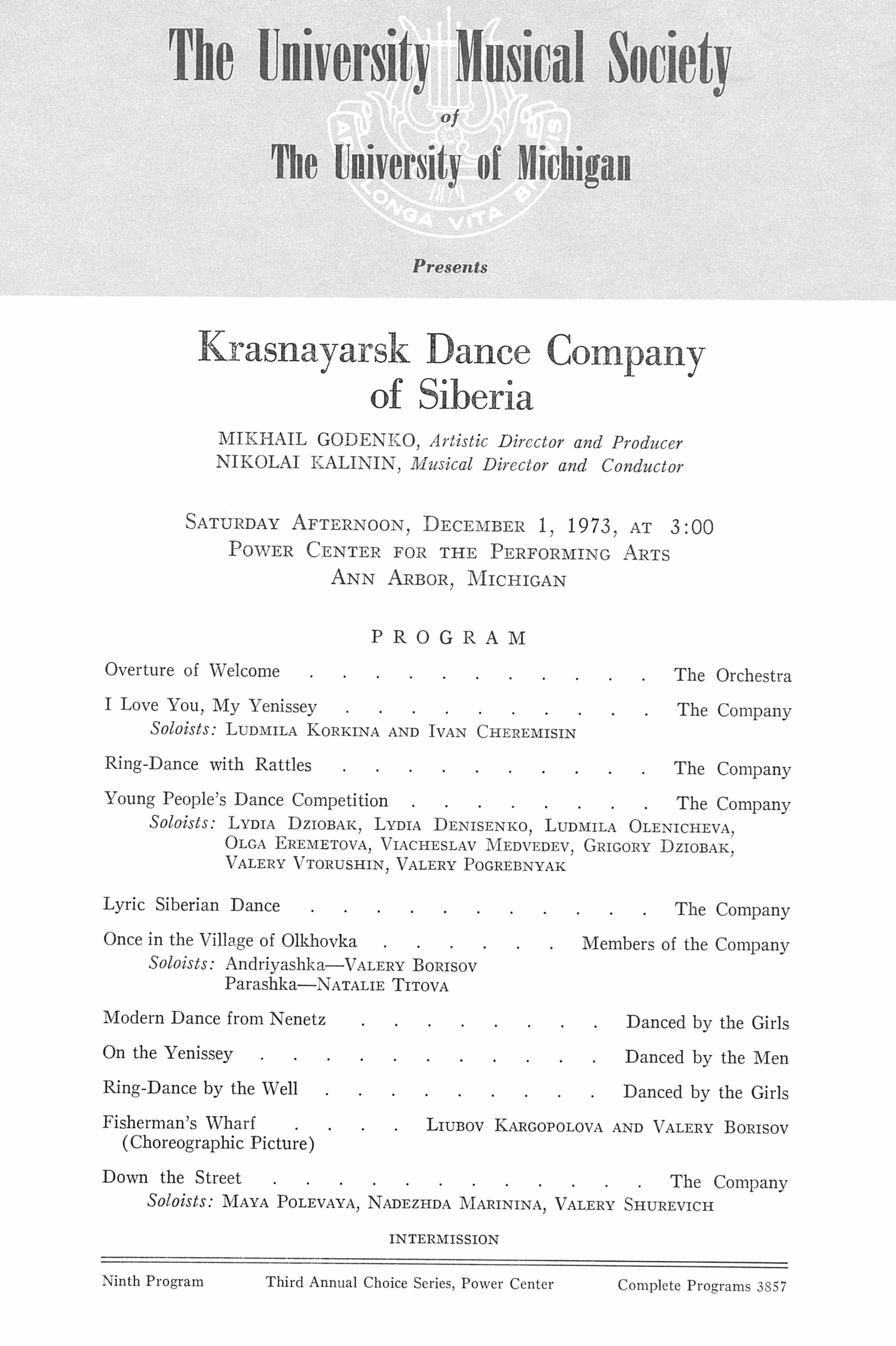 UMS Concert Program, December 1, 1973: Krasnayarsk Dance Company Of Siberia --  image