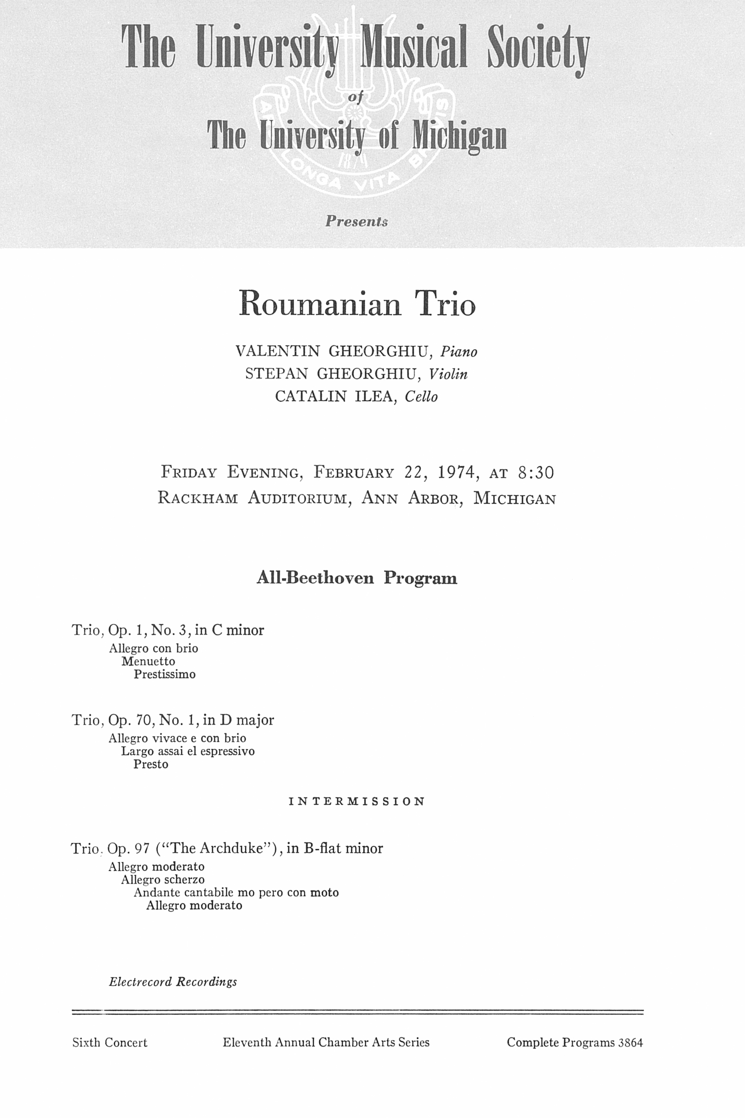 UMS Concert Program, February 22, 1974: Roumanian Trio --  image