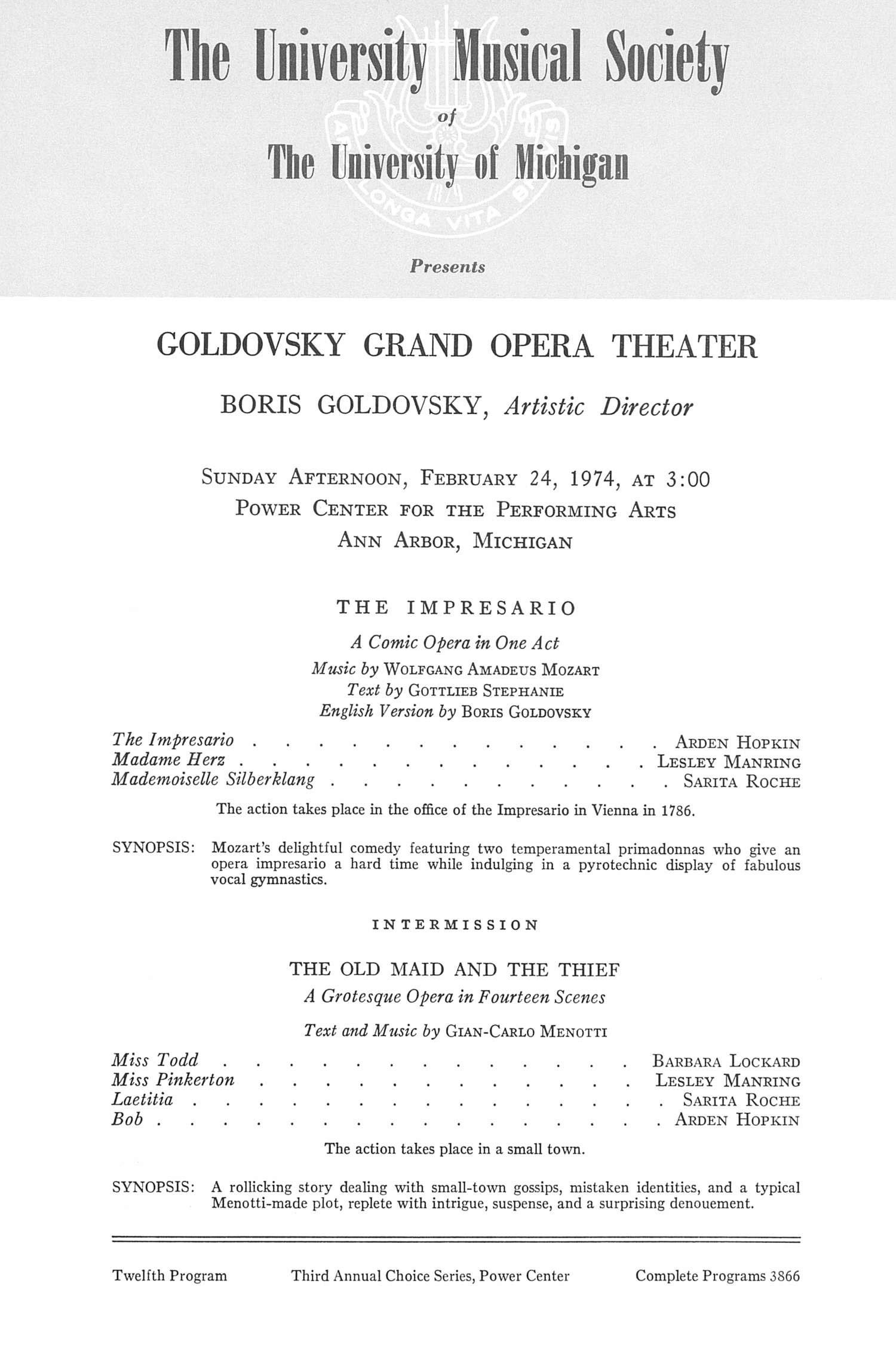 UMS Concert Program, February 24, 1974: Goldovsky Grand Opera Theater -- Boris Goldovsky image