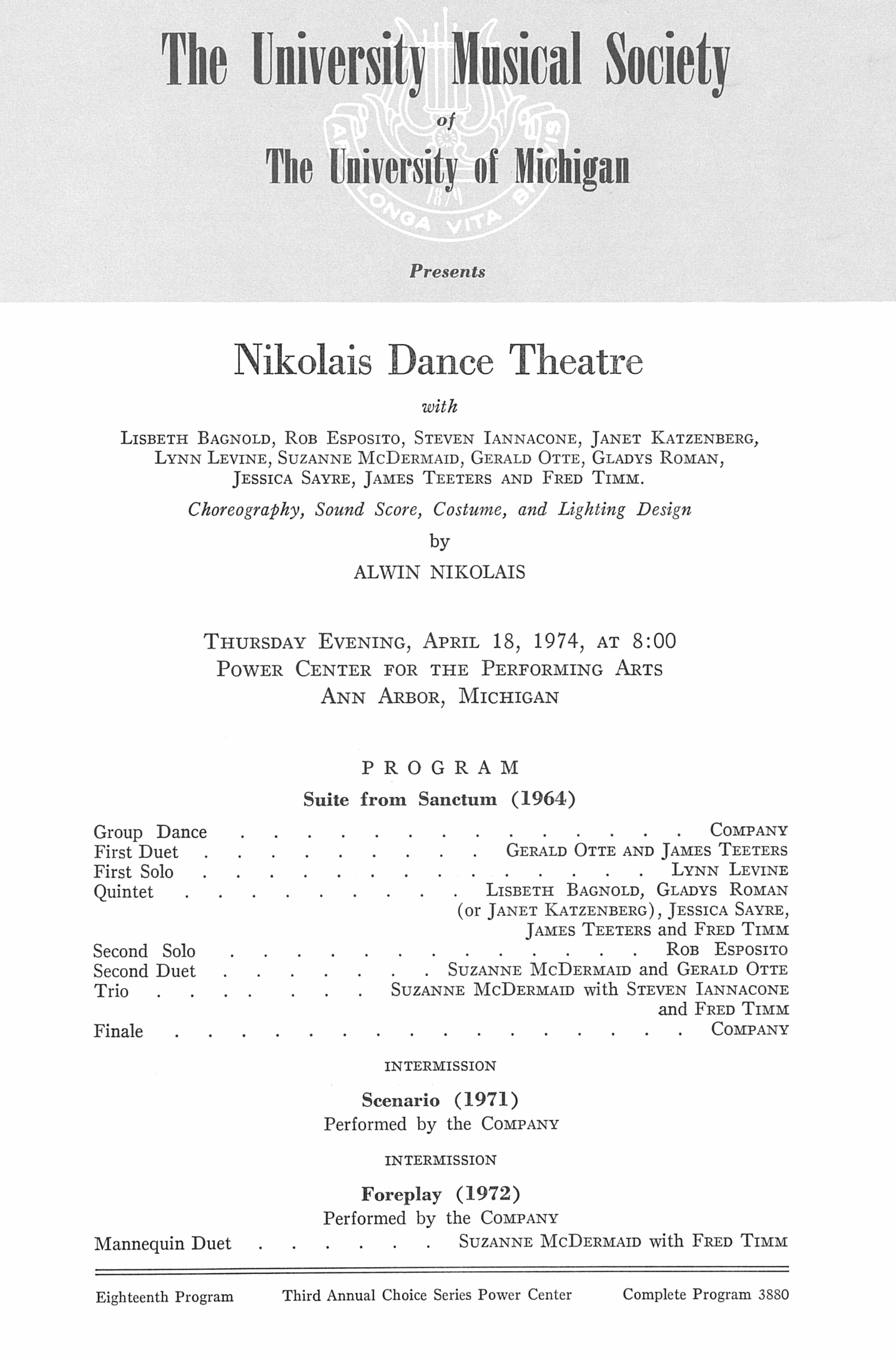 UMS Concert Program, April 18, 1974: Nikolais Dance Theatre --  image
