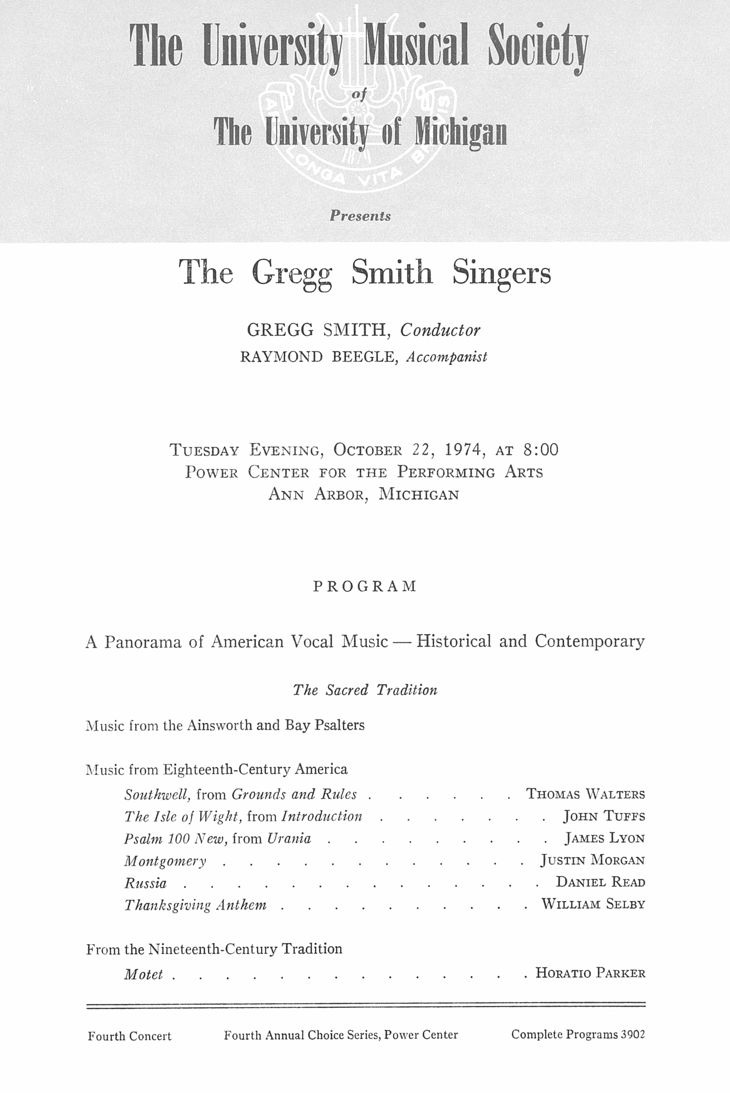 UMS Concert Program, October 22, 1974: The Gregg Smith Singers --  image