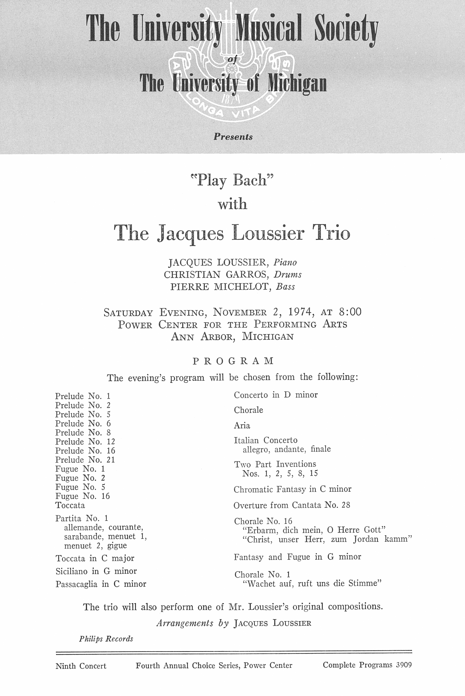UMS Concert Program, November 2, 1974: The Jacques Loussier Trio --  image
