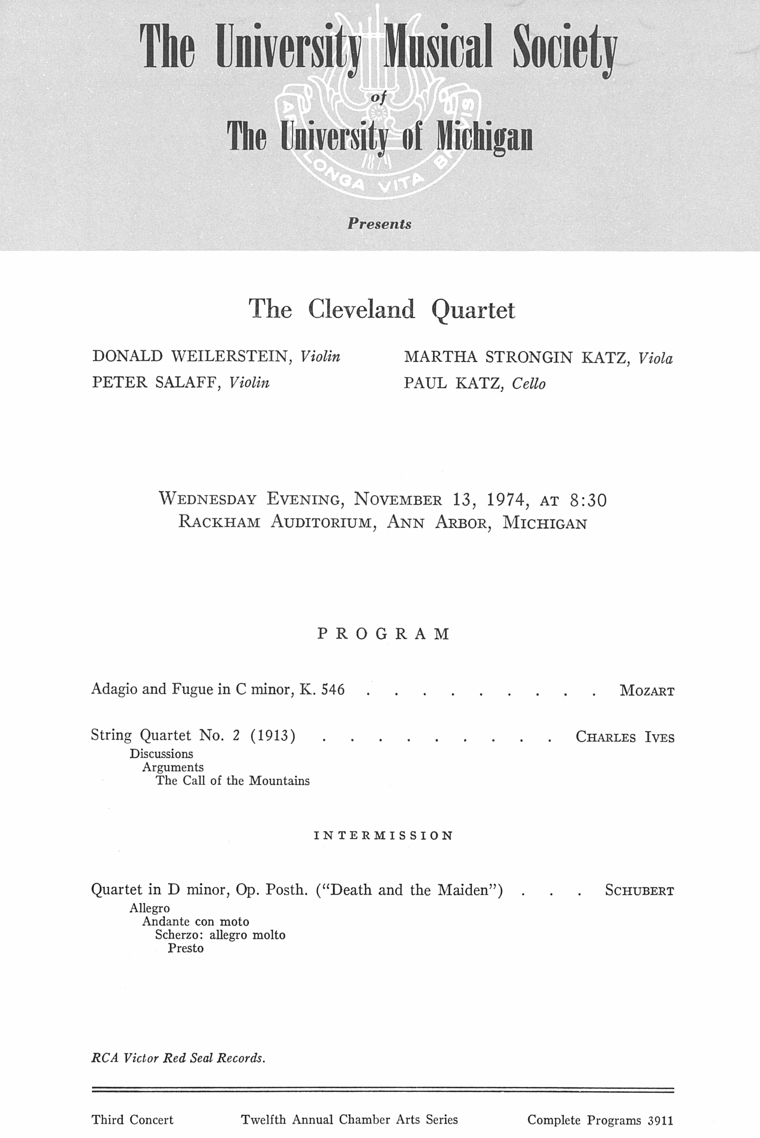 UMS Concert Program, November 13, 1974: The Cleveland Quartet --  image
