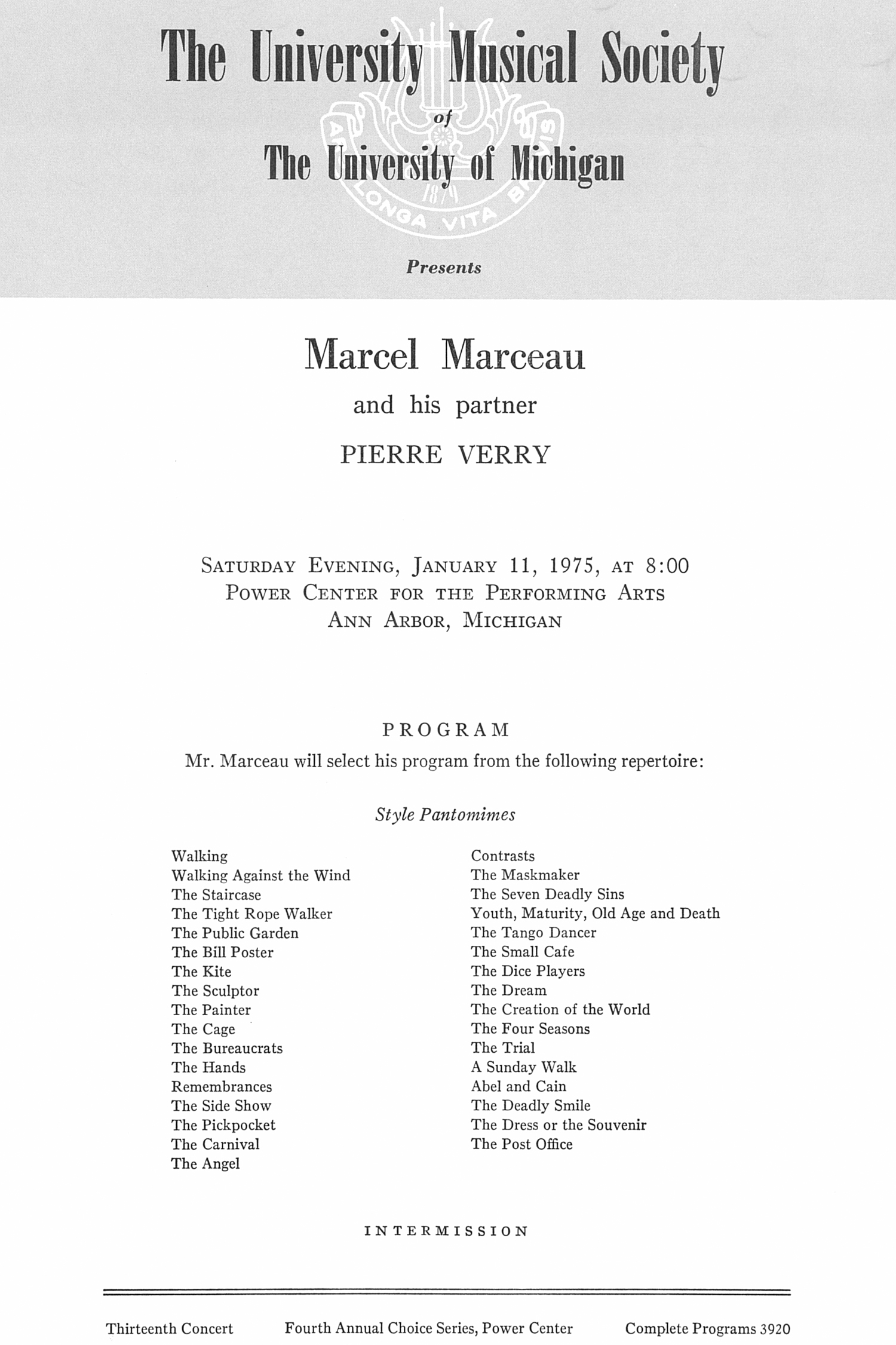 UMS Concert Program, January 11, 1975: Marcel Marceau And His Partner Pierre Verry --  image