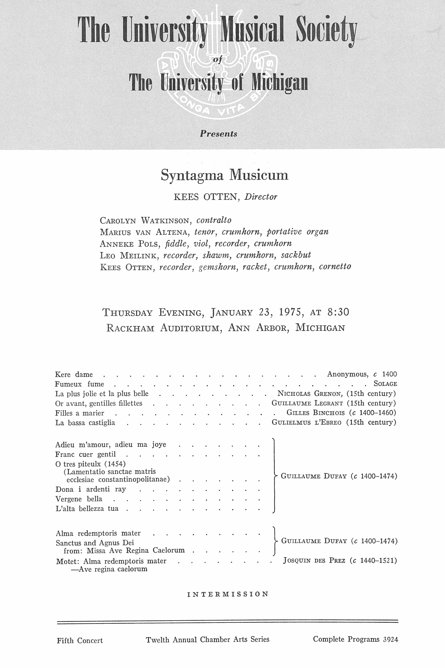 UMS Concert Program, January 23, 1975: Syntagma Musicum -- Kees Otten image
