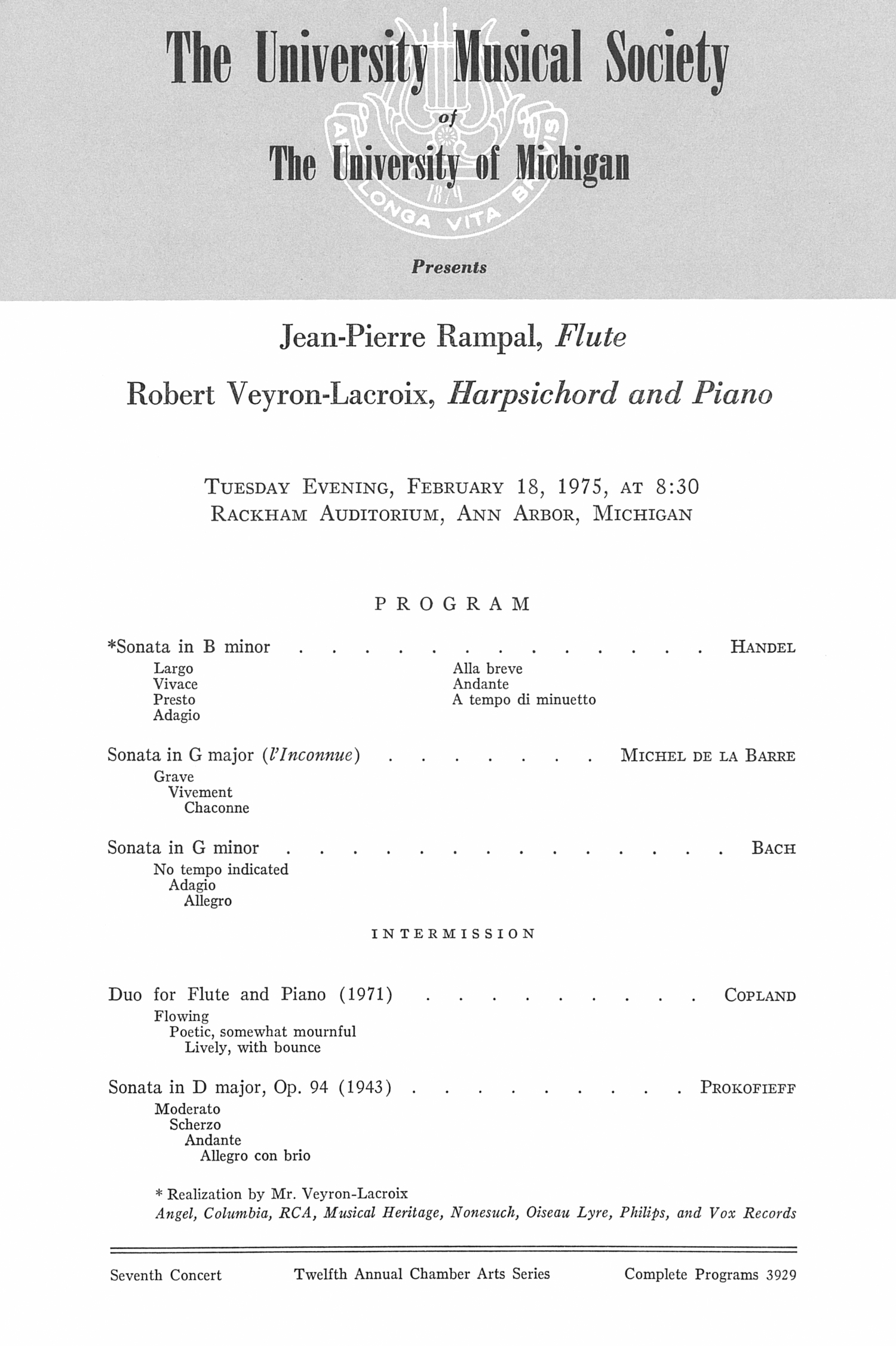 UMS Concert Program, February 18, 1975: Jean-pierre Rampal --  image