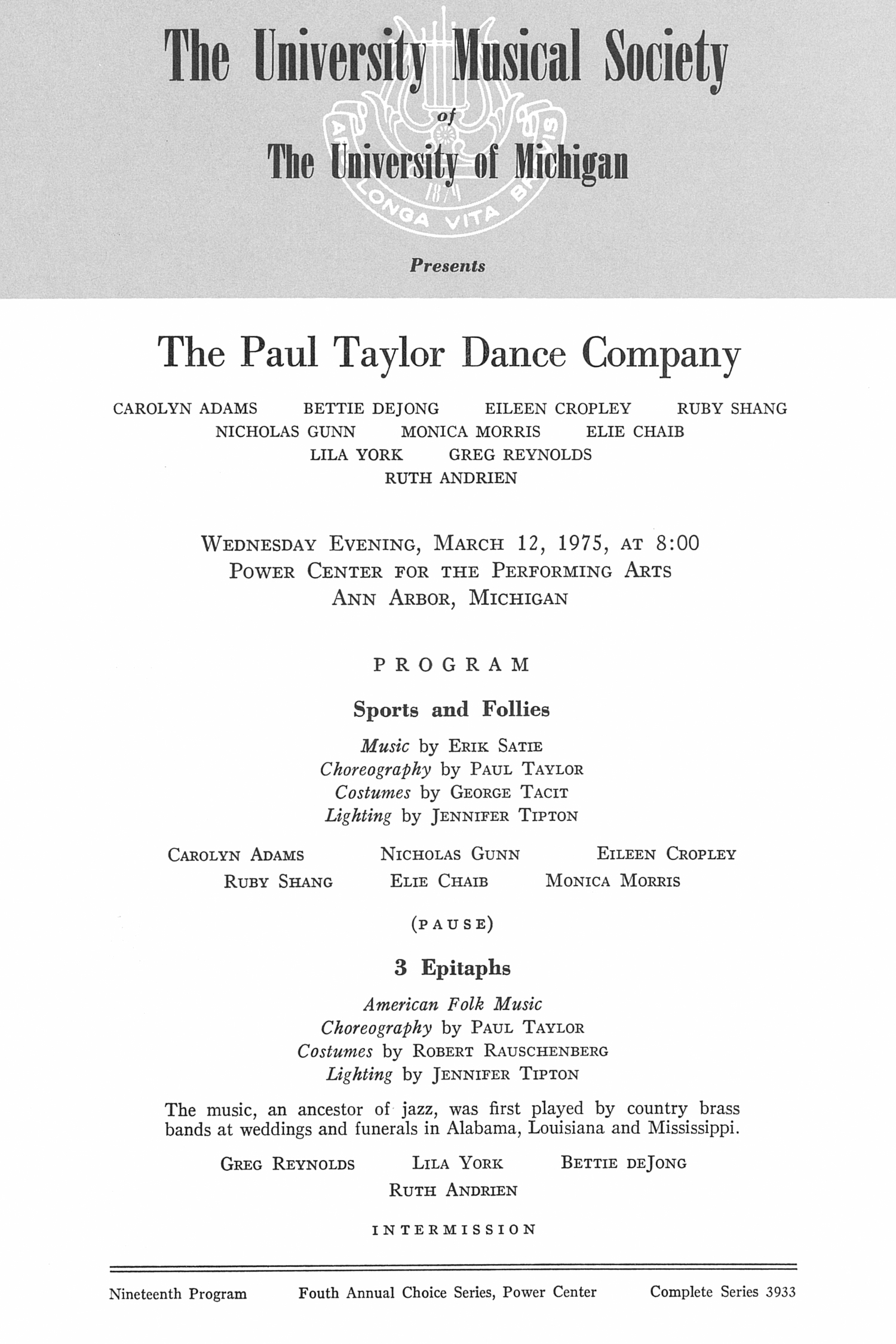 UMS Concert Program, March 12, 1975: The Paul Taylor Dance Company --  image