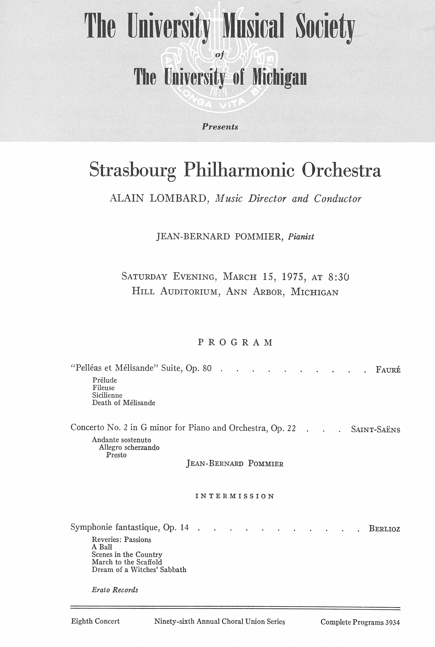 UMS Concert Program, March 15, 1975: Strasbourg Philharmonic Orchestra --  image