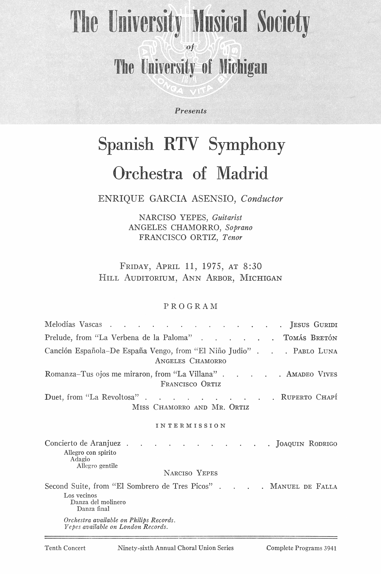 UMS Concert Program, April 11, 1975: Spanish Rtv Symphony Orchestra Of Madrid --  image