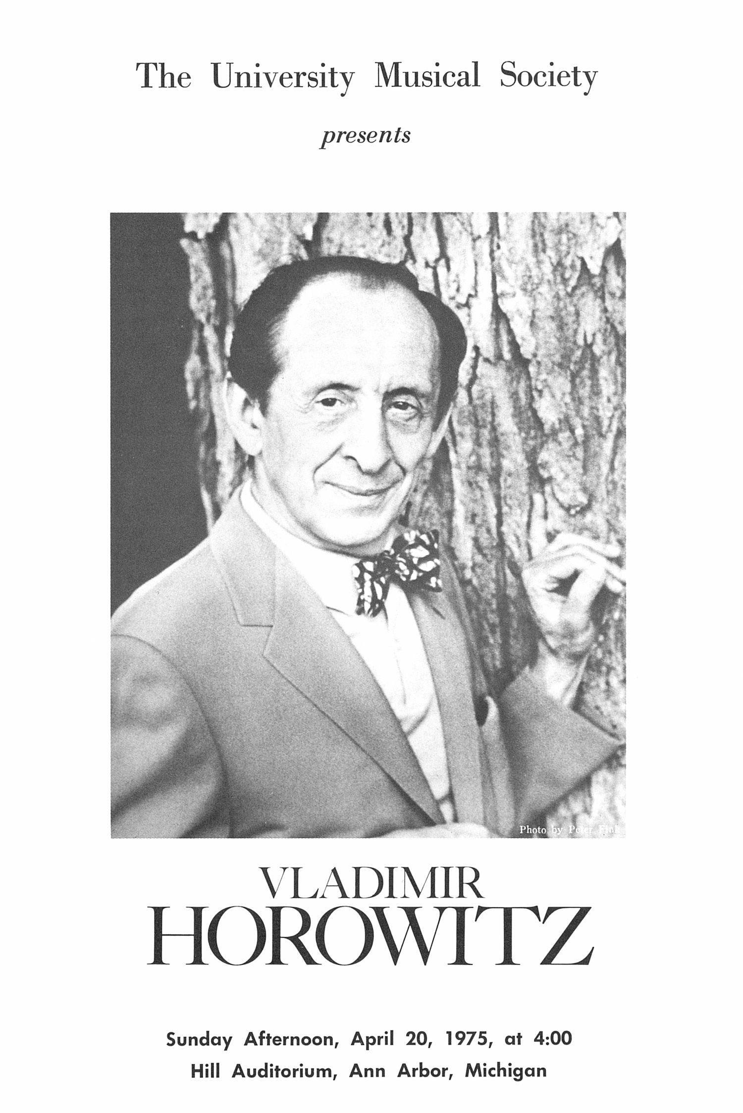 UMS Concert Program, April 20, 1975: Vladimir Horowitz --  image