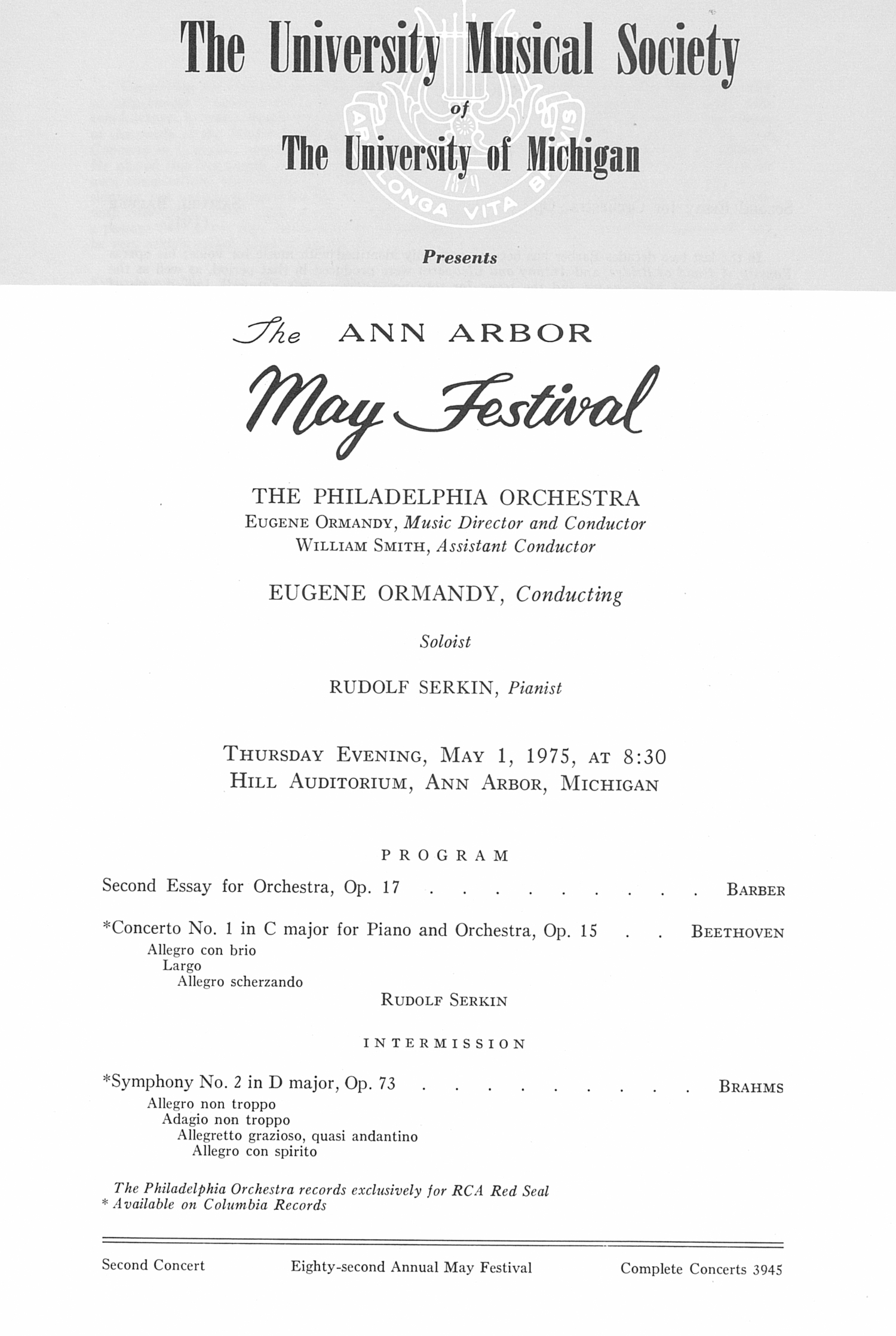 UMS Concert Program, May 1, 1975: The Ann Arbor May Festival -- The Philadelphia Orchestra image