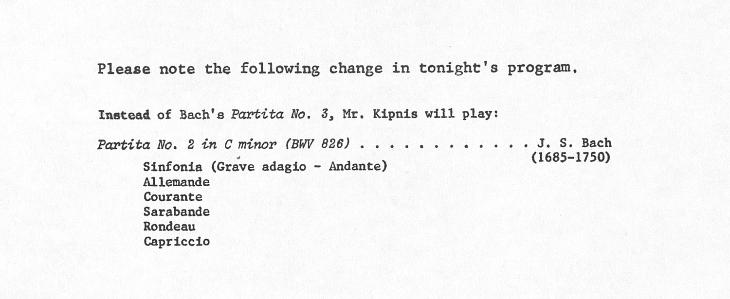 UMS Concert Program, : Mr. Kipnis --  image