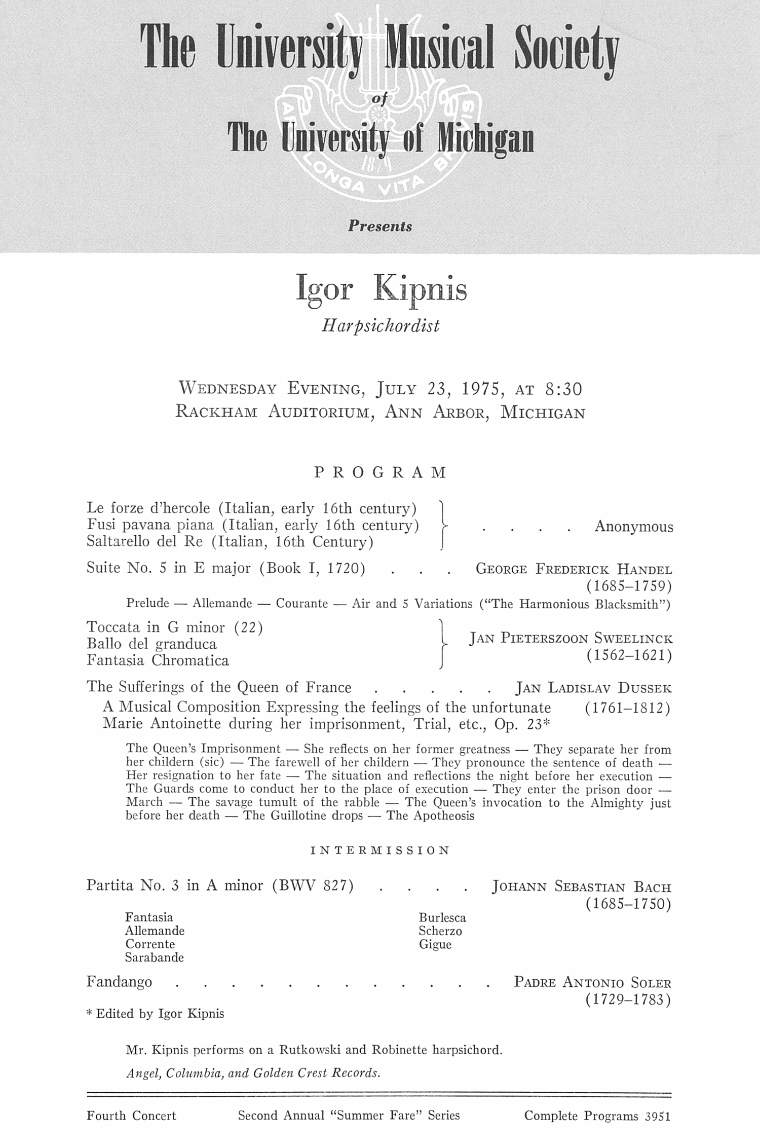 UMS Concert Program, July 23, 1975: Igor Kipnis --  image