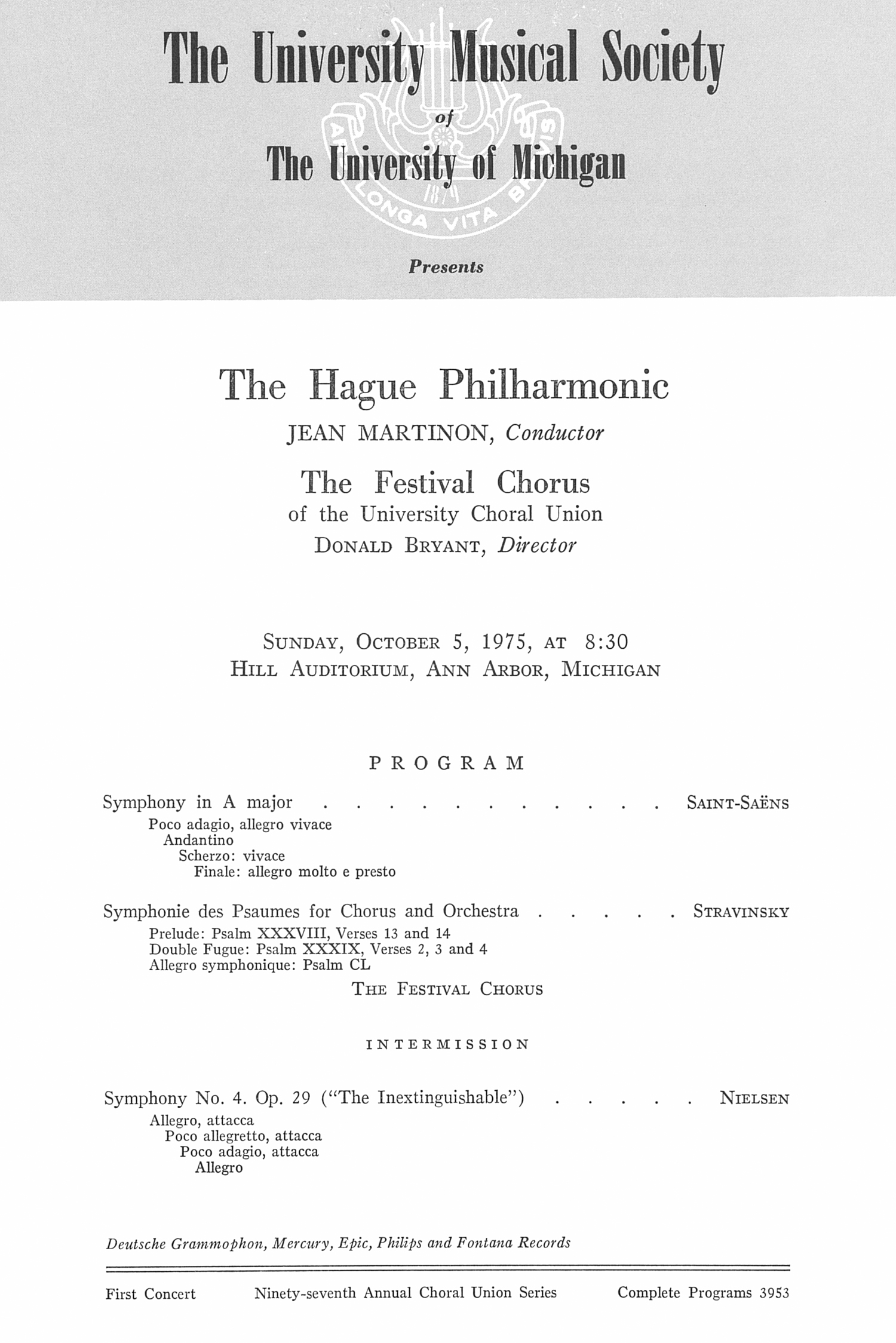 UMS Concert Program, October 5, 1975: The Hague Philharmonic -- Jean Martinon image