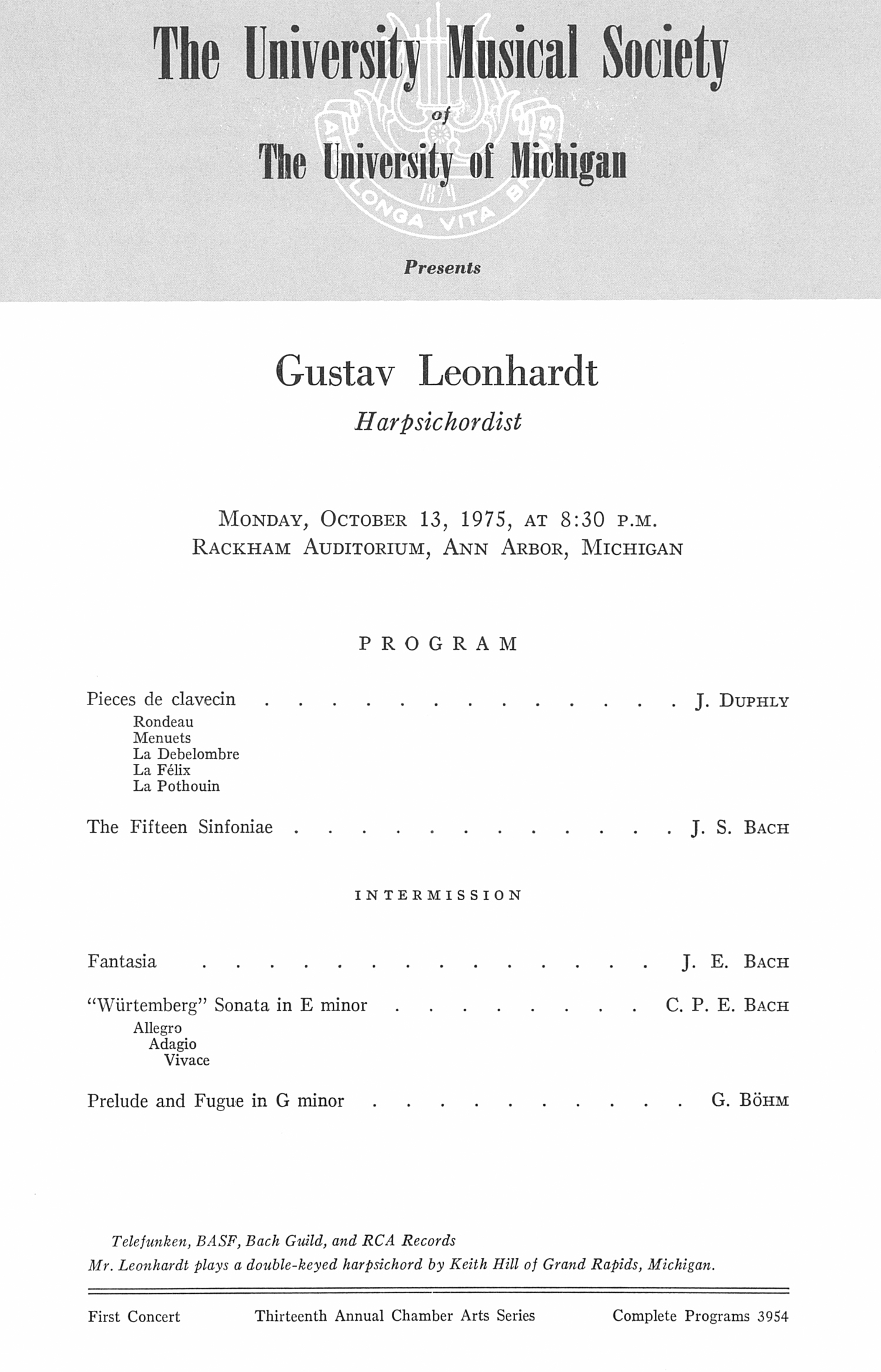 UMS Concert Program, October 13, 1975: Gustav Leonhardt --  image