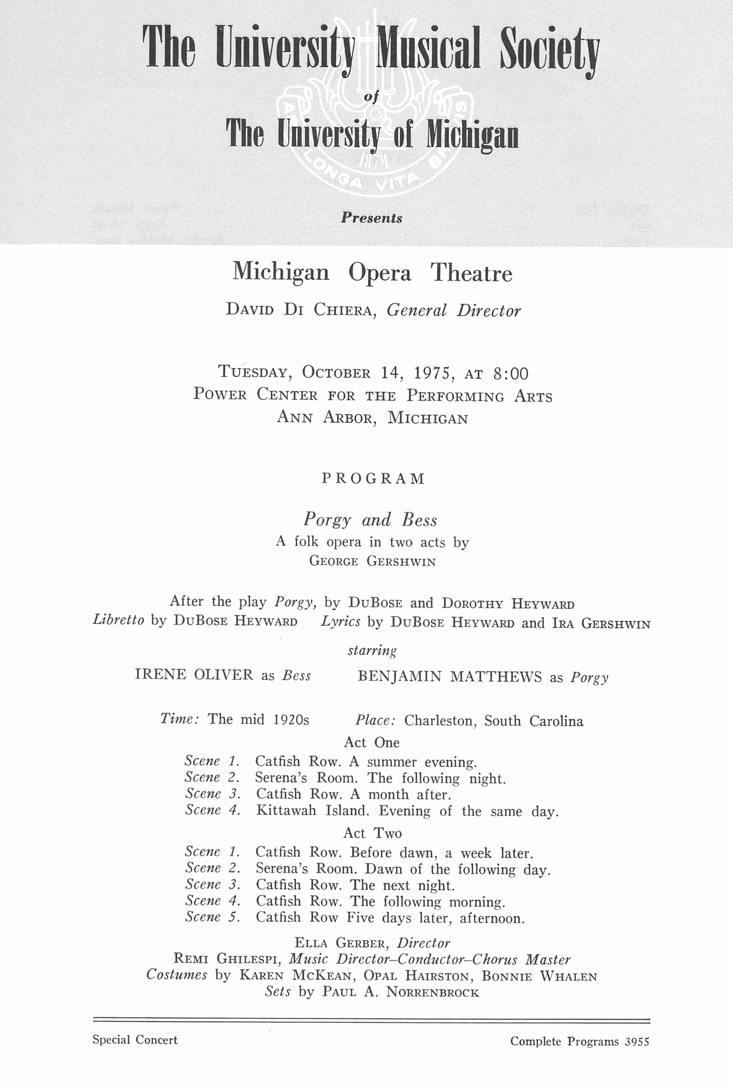 UMS Concert Program, October 14, 1975: Michigan Opera Theatre -- David Di Chiera image