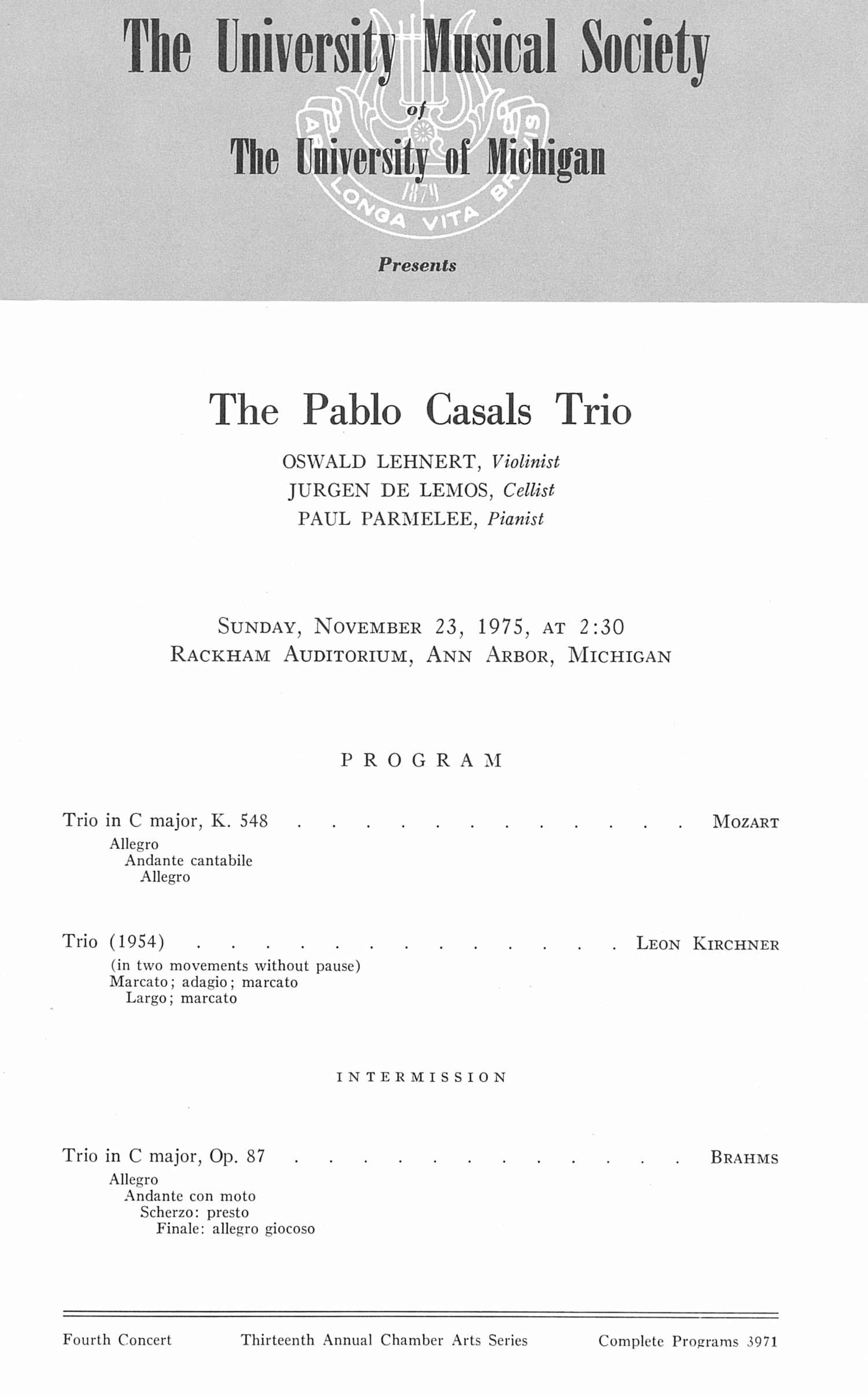 UMS Concert Program, November 23, 1975: The Pablo Casals Trio --  image