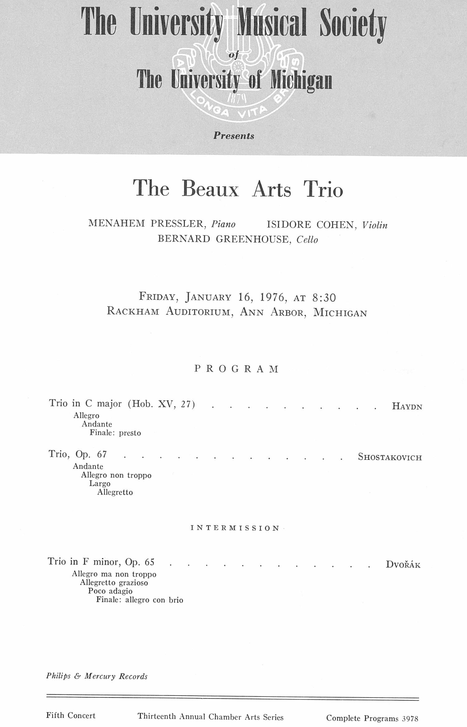 UMS Concert Program, January 16, 1976: The Beaux Arts Trio --  image