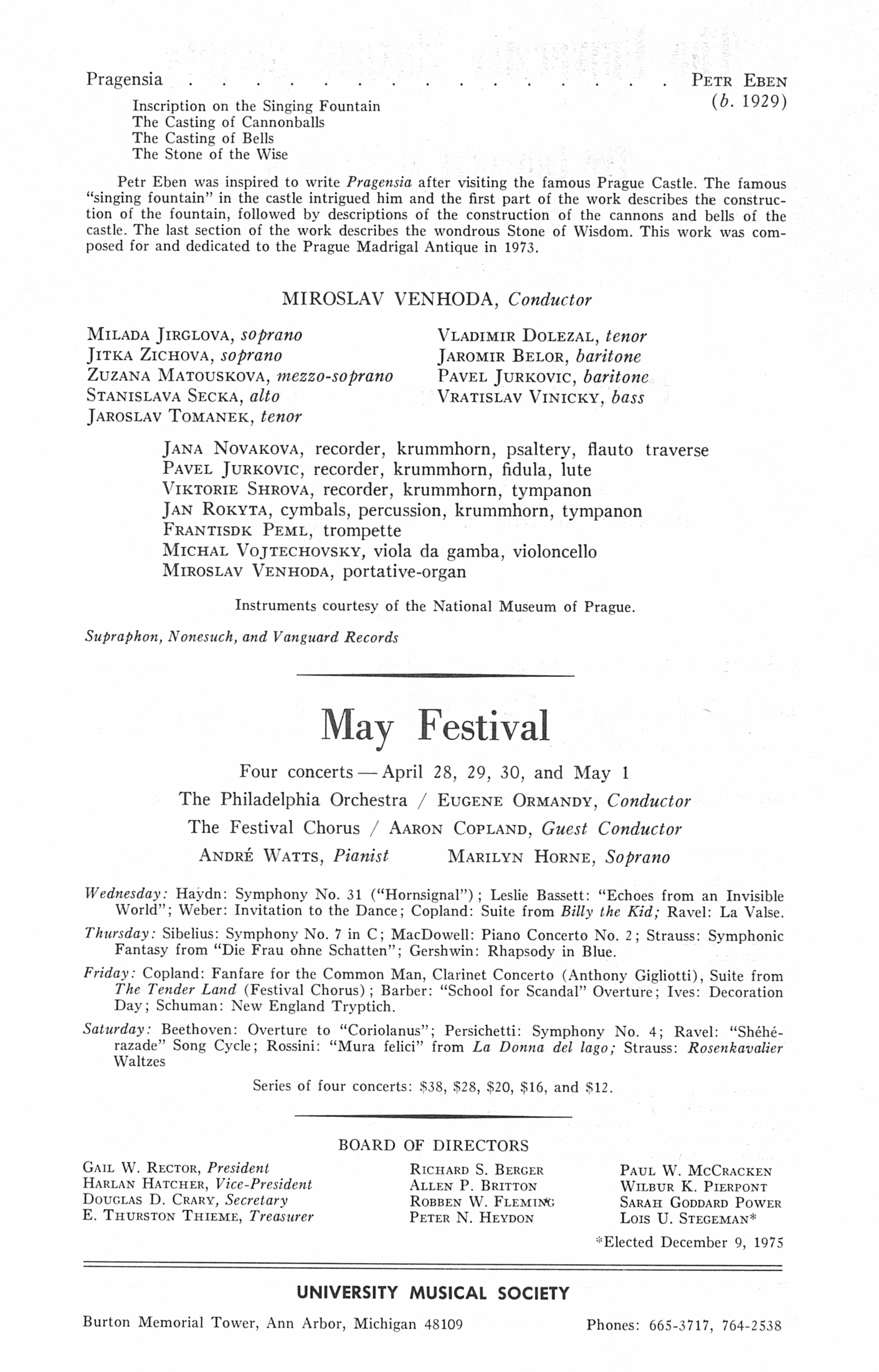 UMS Concert Program, January 25, 1976: Prague Madrigal Antiqua --  image