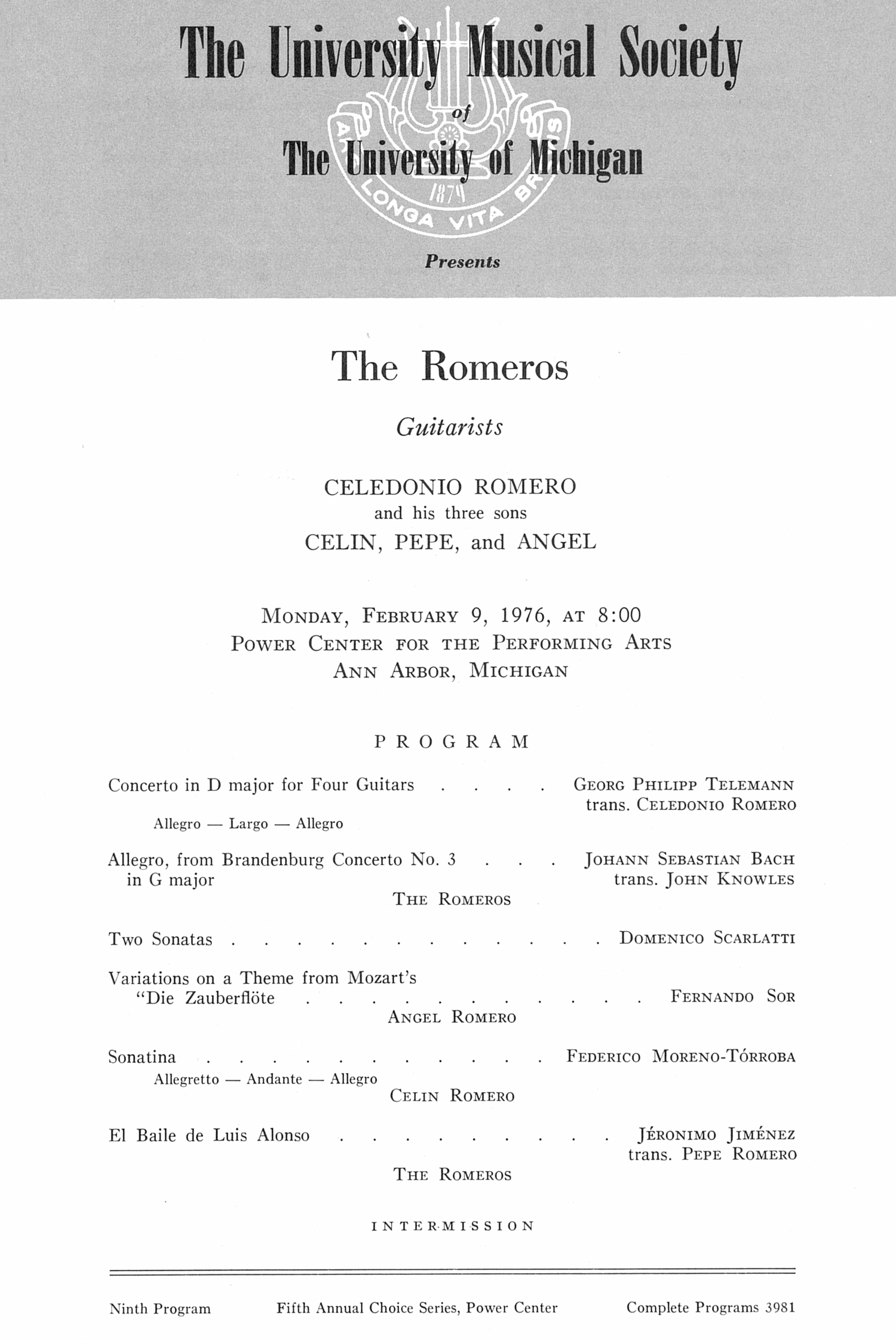 UMS Concert Program, February 9, 1976: The Romeros --  image