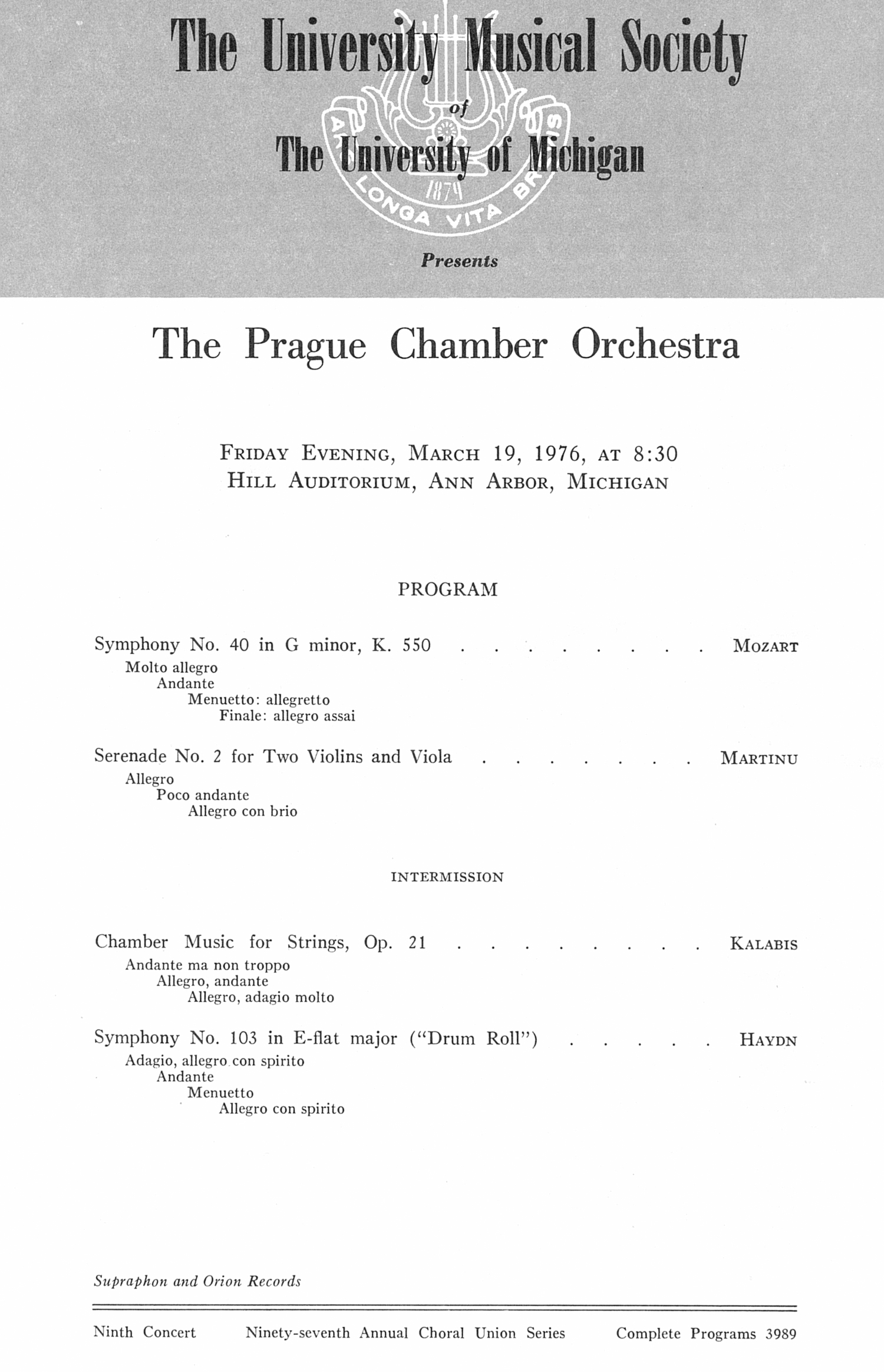 UMS Concert Program, March 19, 1976: The Prague Chamber Orchestra --  image