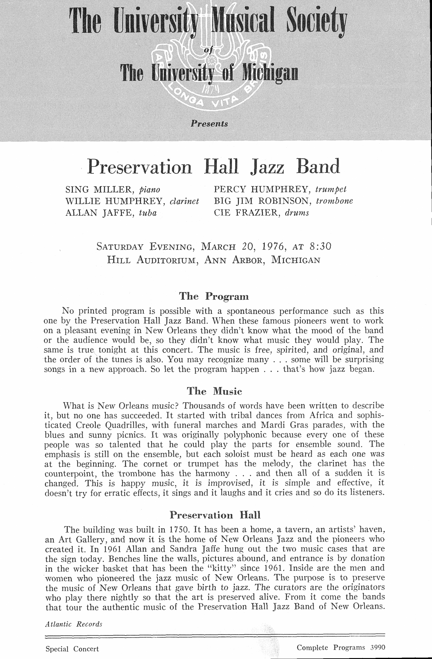UMS Concert Program, March 20, 1976: Preservation Hall Jazz Band --  image