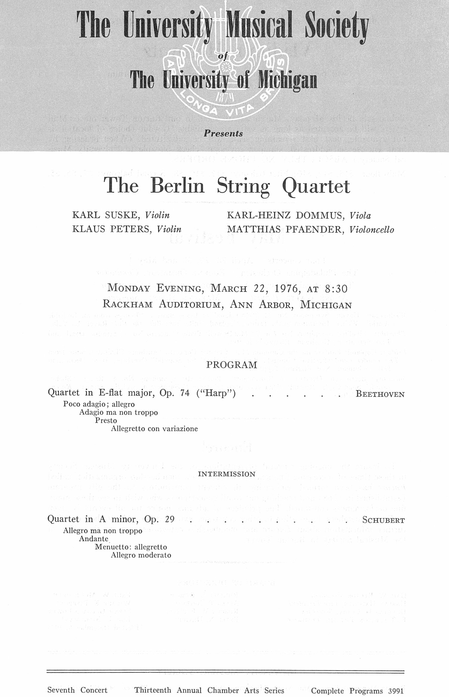 UMS Concert Program, March 22, 1976: The Berlin String Quartet --  image